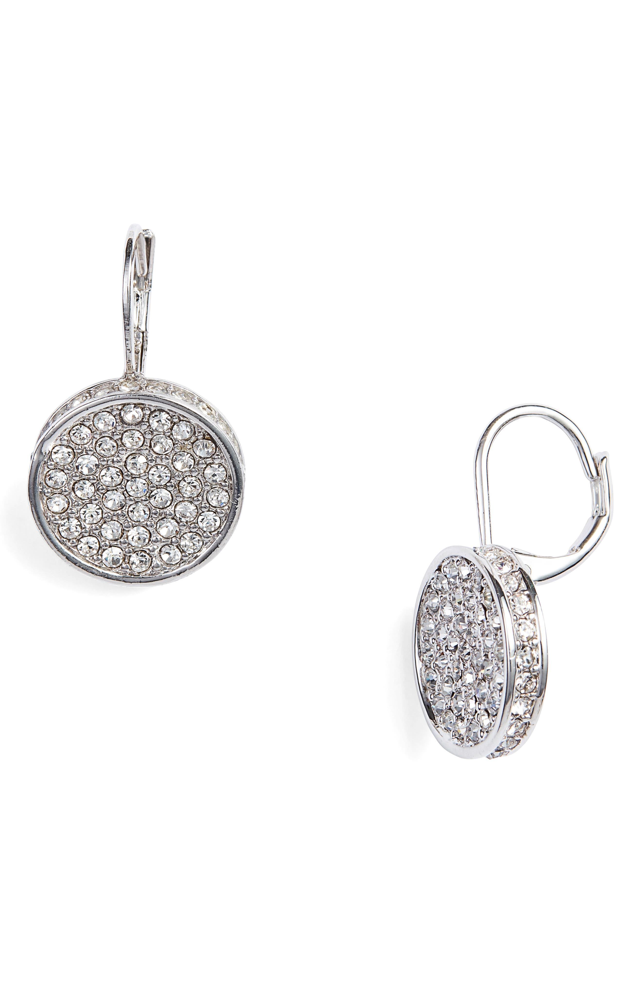 Crystal Glitter Earrings,                         Main,                         color, Silver/ Crystal