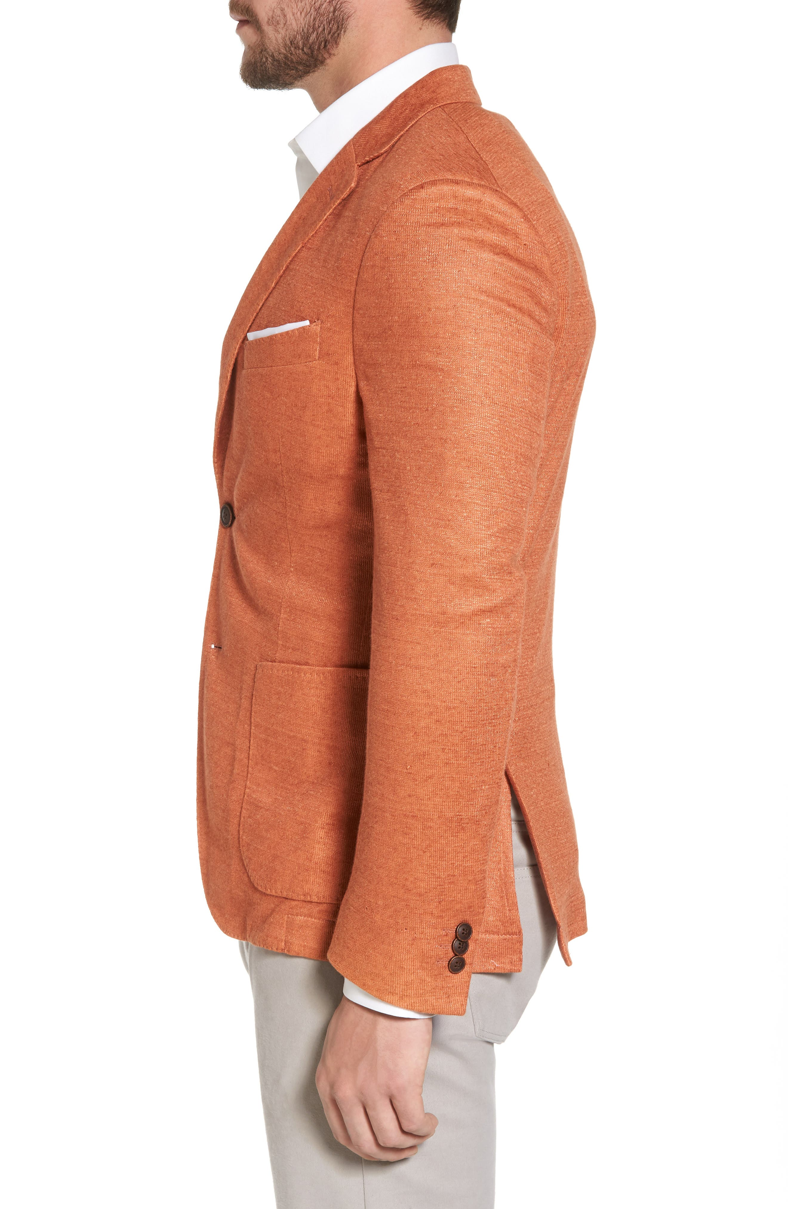 Trim Fit Heathered Jersey Blazer,                             Alternate thumbnail 3, color,                             Orange