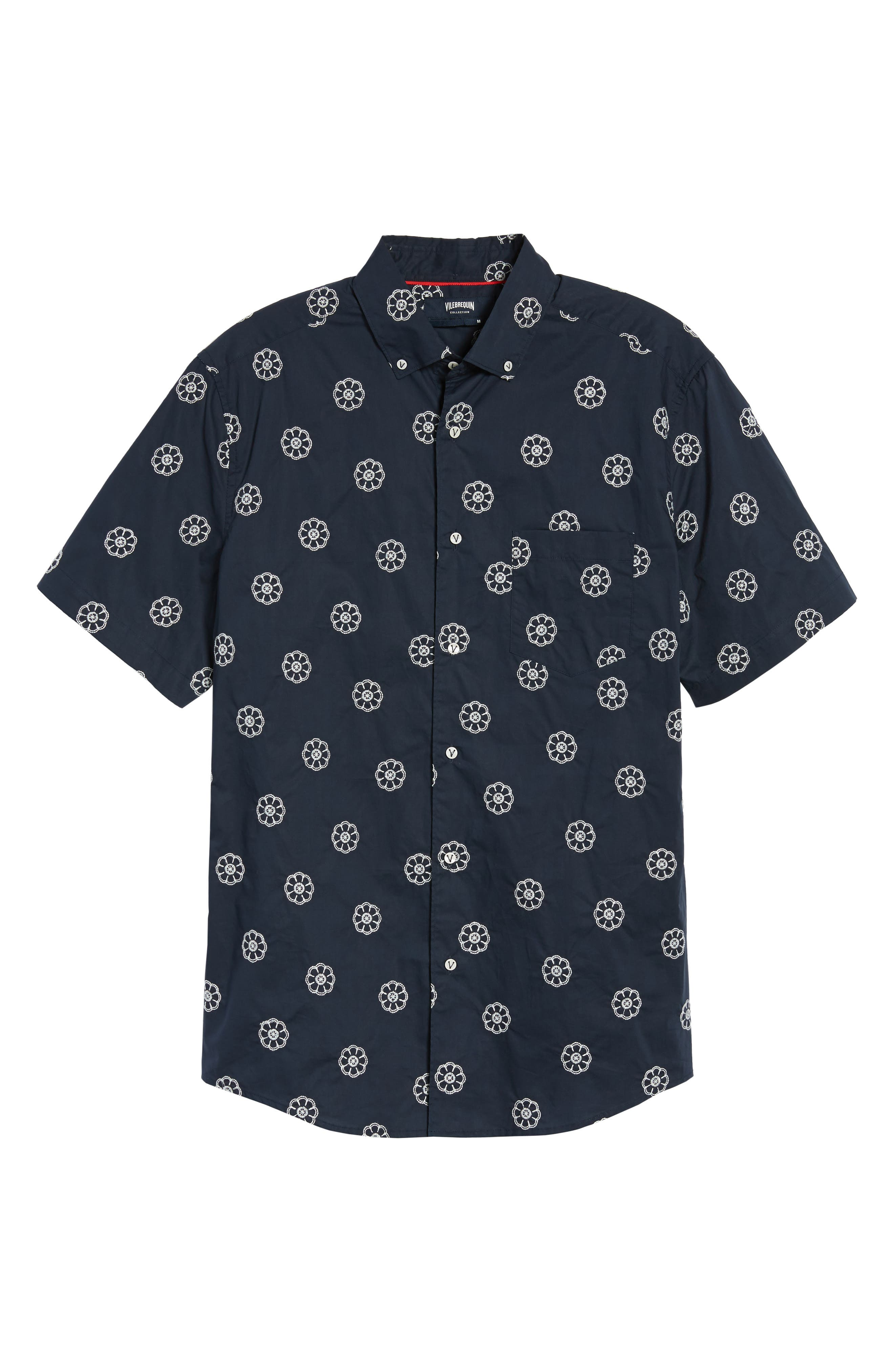Embroidered Floral Poplin Shirt,                             Alternate thumbnail 6, color,                             Squid Ink W/ Canvas