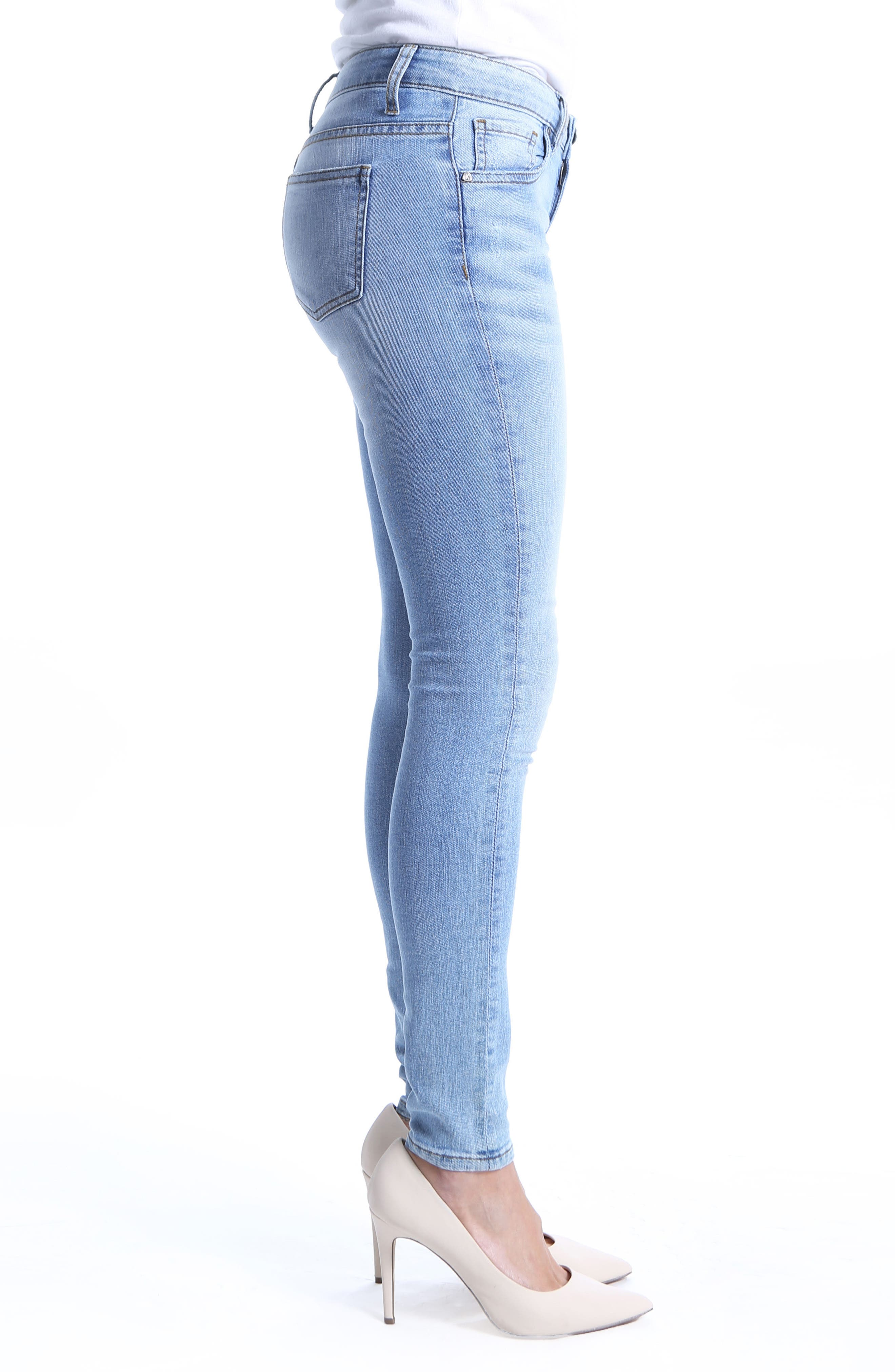 Mia Toothpick Skinny Distressed Jeans,                             Alternate thumbnail 3, color,                             Confirmed