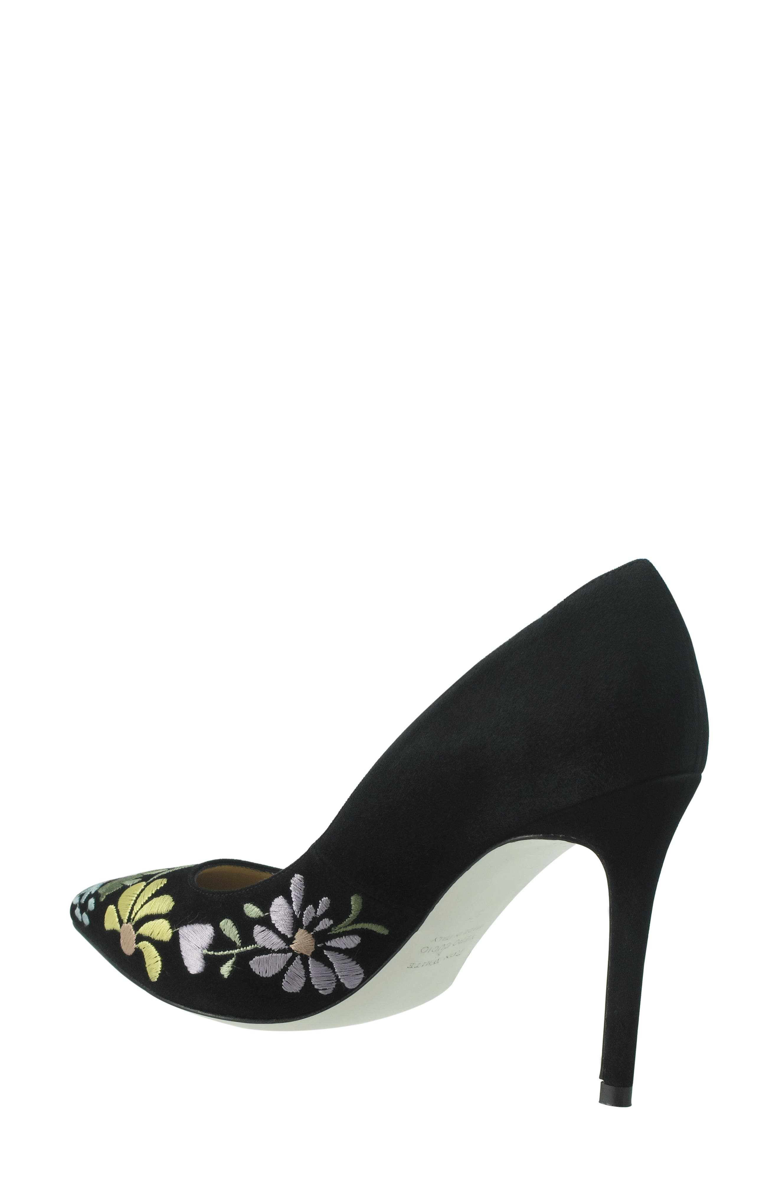 Shana Flower Embroidered Pump,                             Alternate thumbnail 2, color,                             Onyx Multi Suede