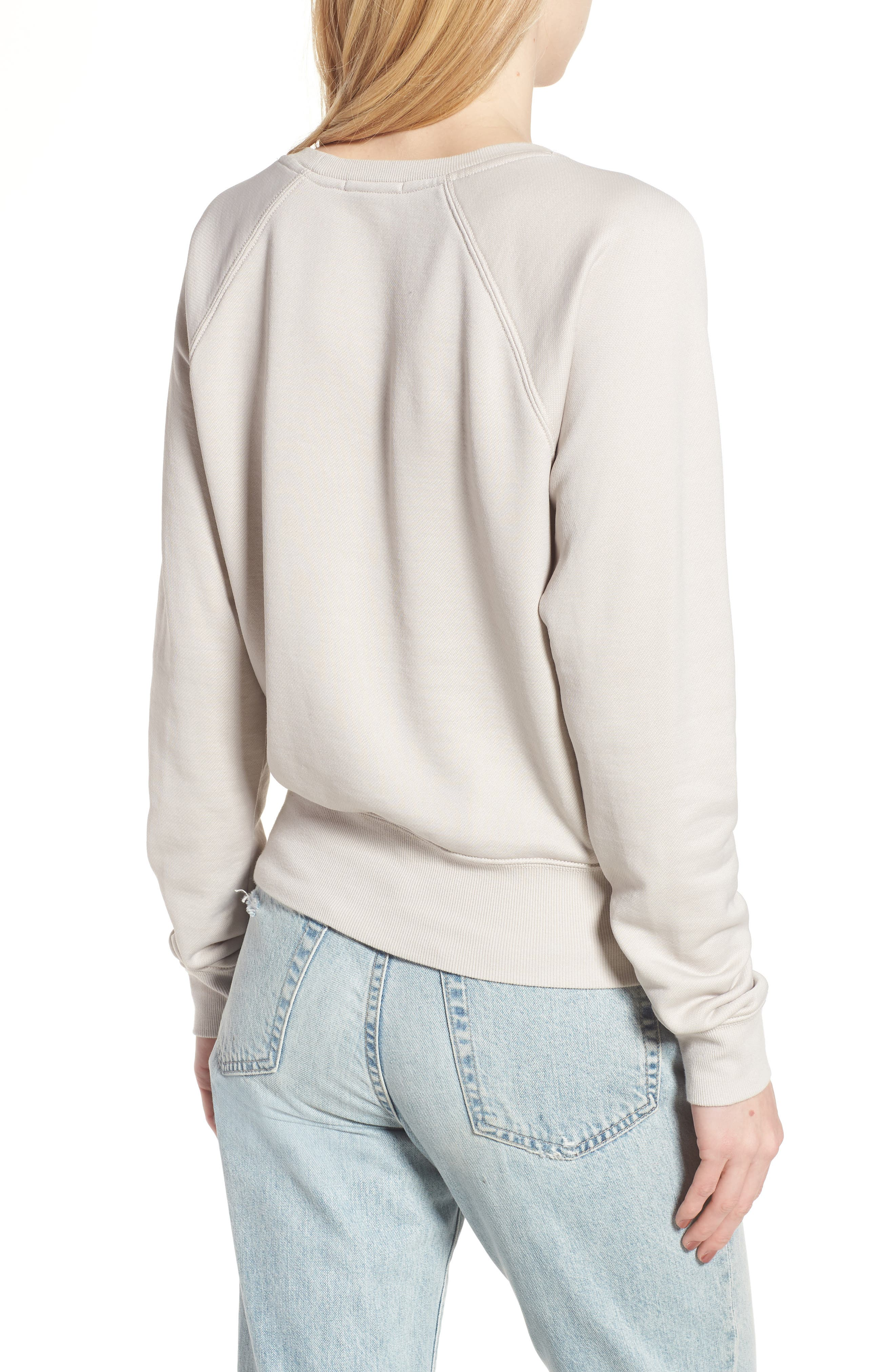 Shrunken Fleece Sweatshirt,                             Alternate thumbnail 2, color,                             Silver