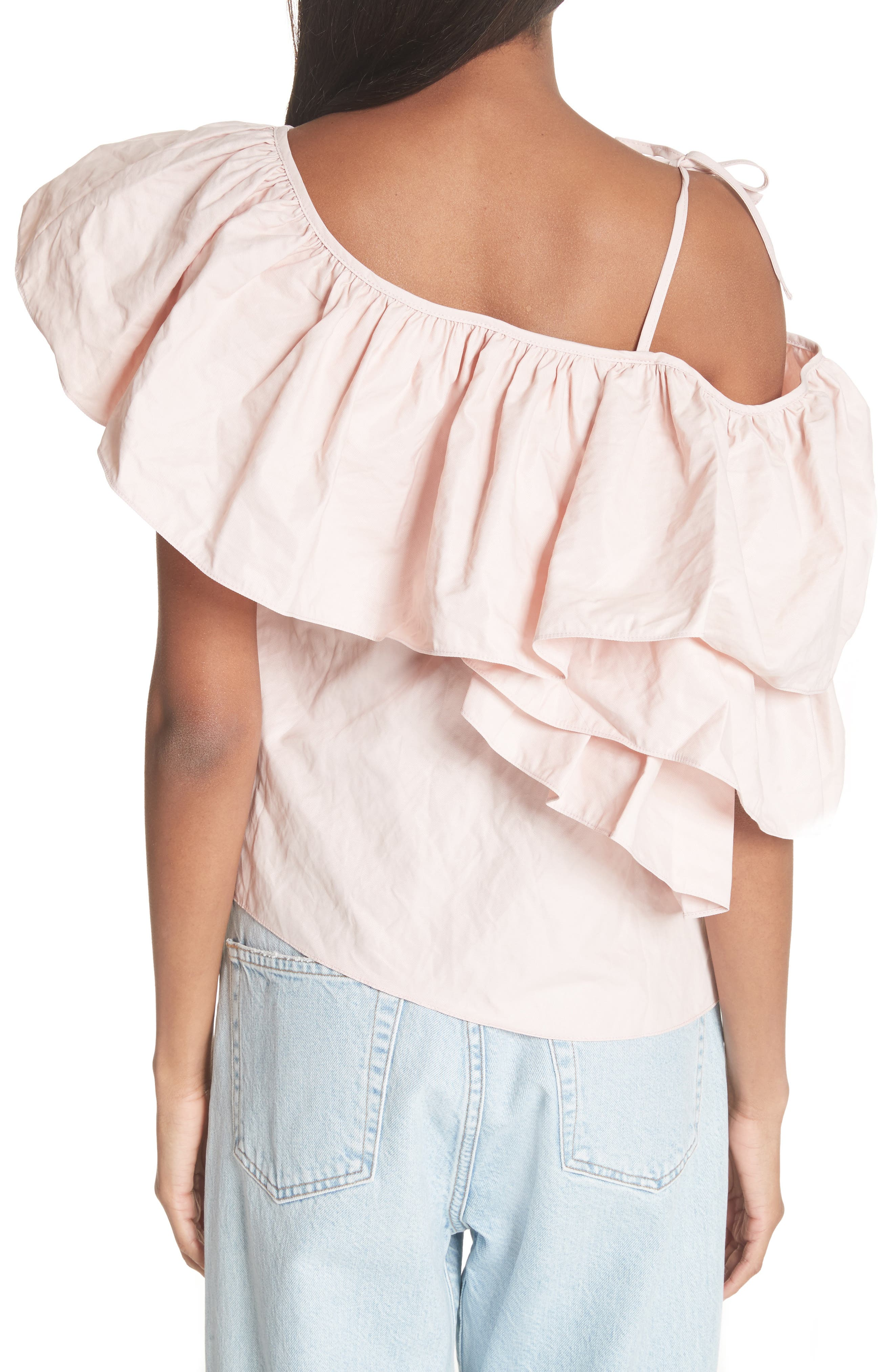 Marques'Almeida One Shoulder Ruffle Top,                             Alternate thumbnail 2, color,                             Pale Pink