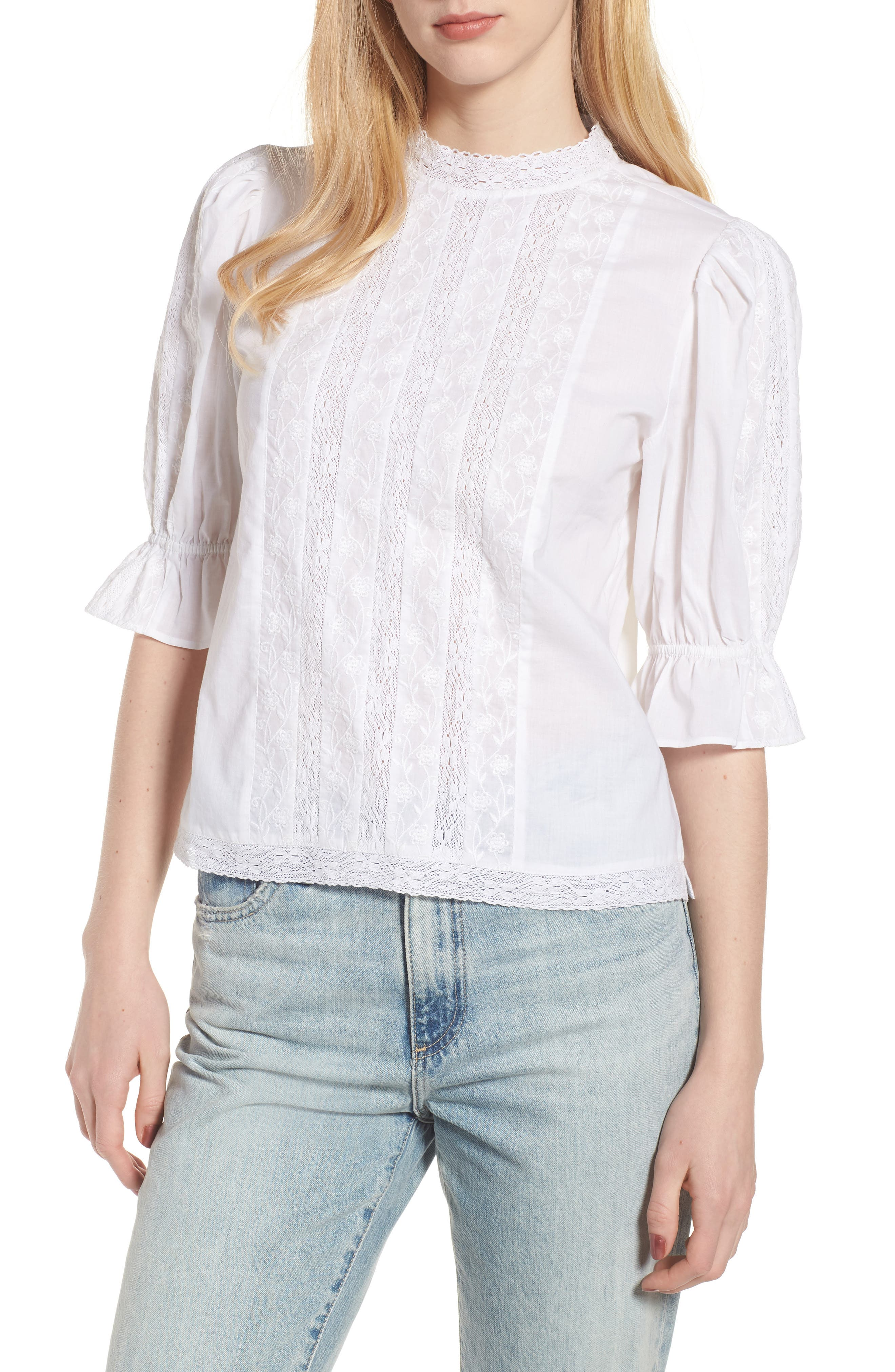 Embroidered Lace Top,                         Main,                         color, White