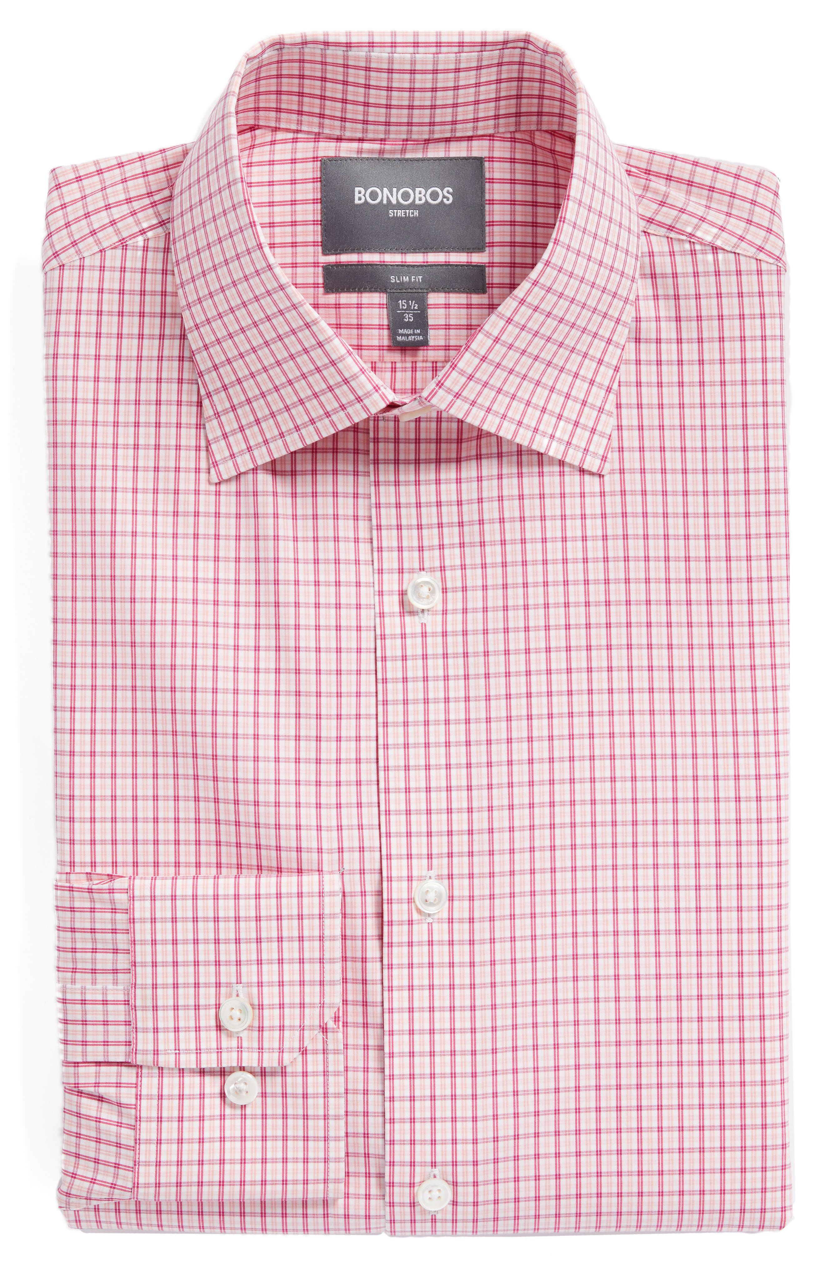 Jetsetter Slim Fit Stretch Check Dress Shirt,                             Alternate thumbnail 6, color,                             Pink Peacock