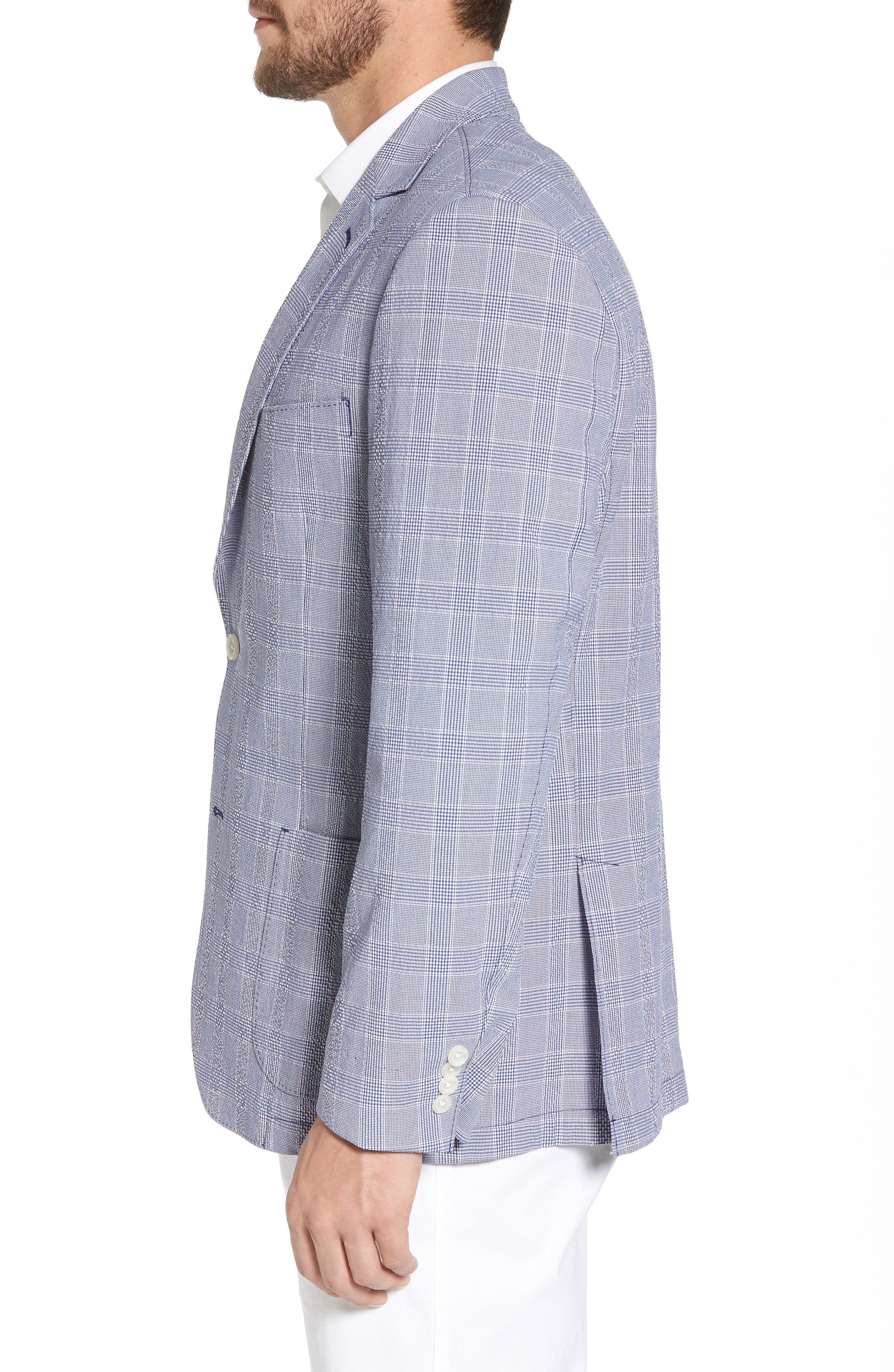 Classic Fit Glen Plaid Seersucker Sport Coat,                             Alternate thumbnail 3, color,                             Blue