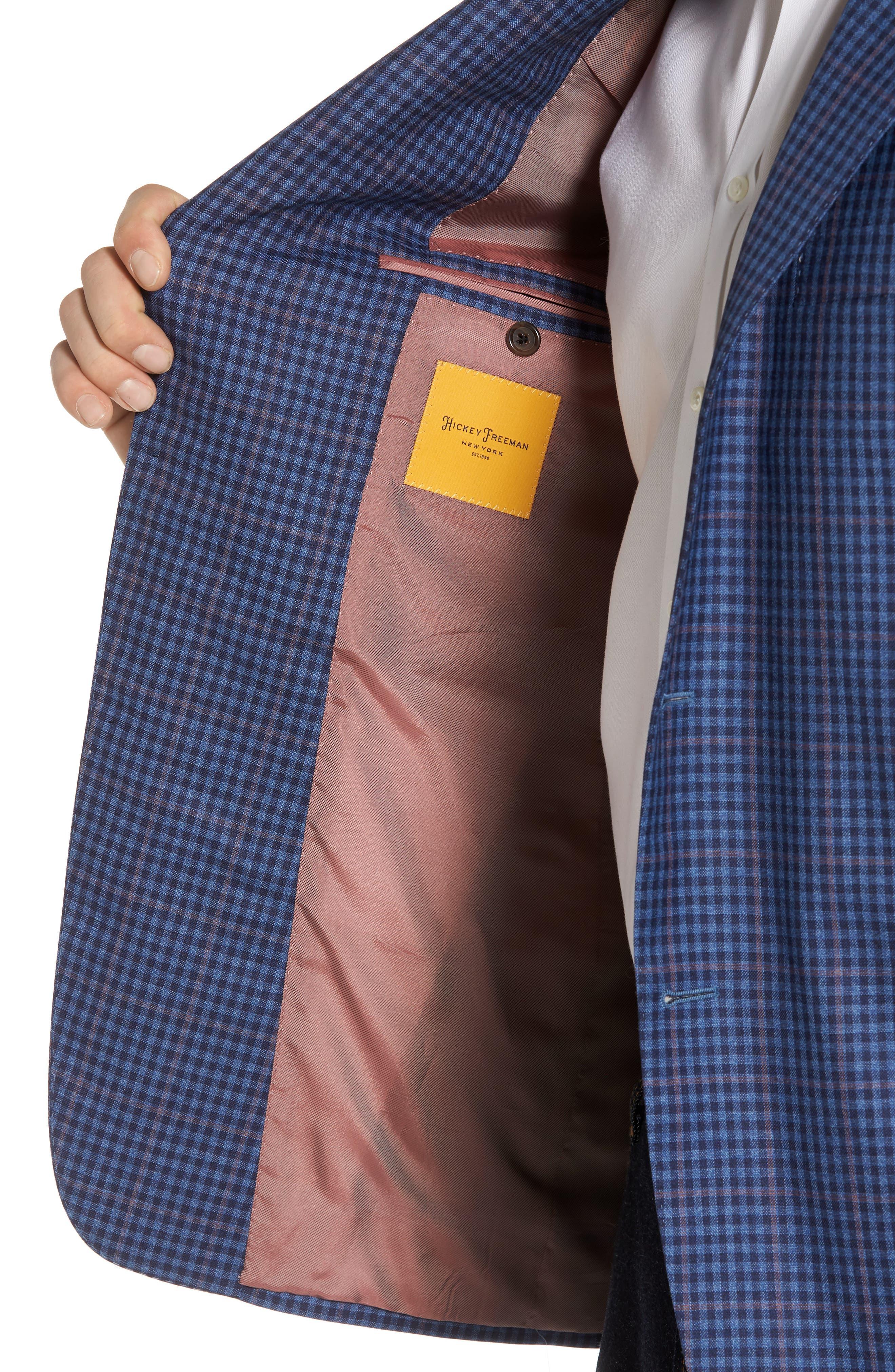 Classic B Fit Check Wool Sport Coat,                             Alternate thumbnail 4, color,                             Blue