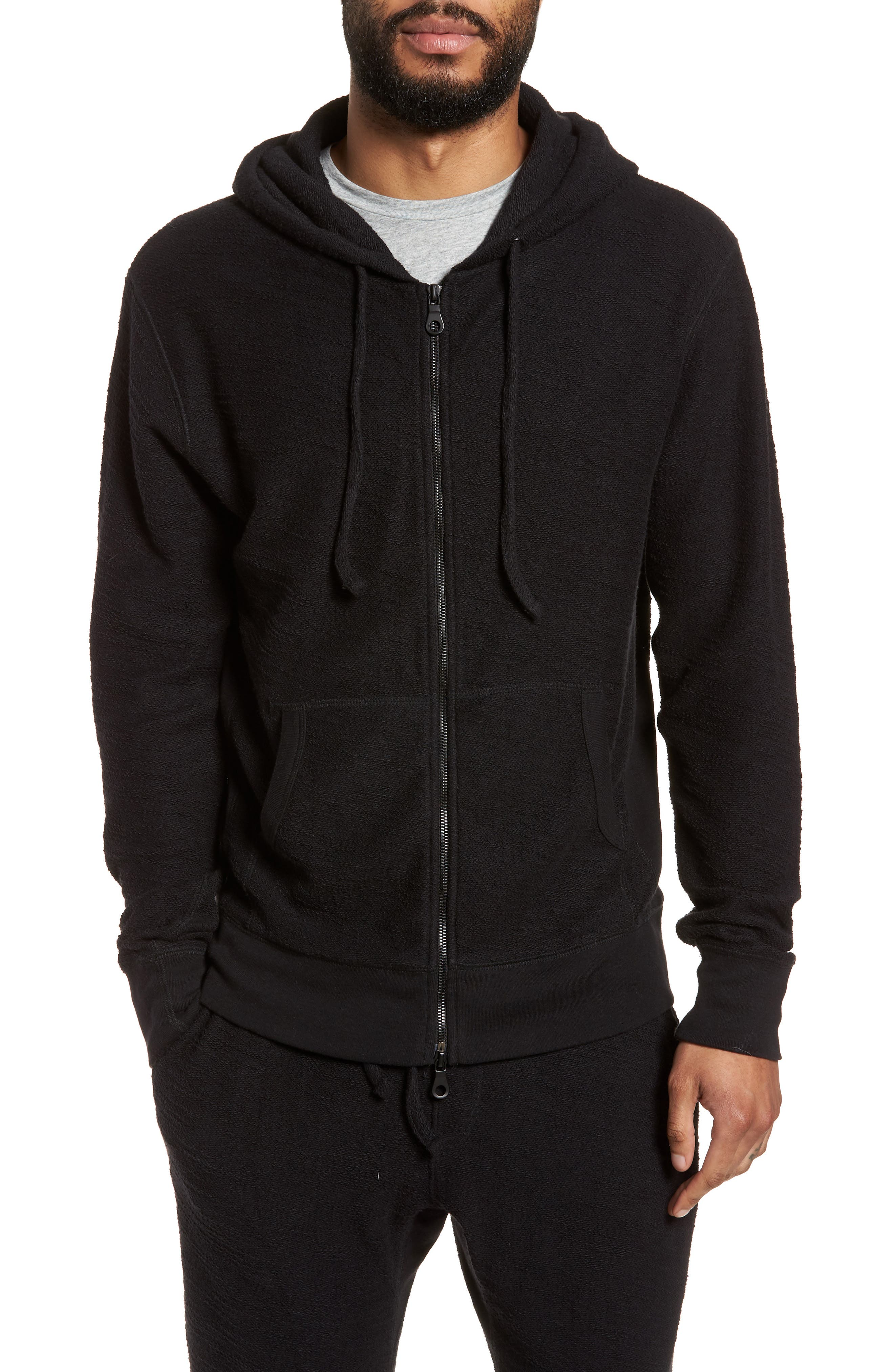 Terrycloth Cotton Blend Zip Hoodie,                         Main,                         color, Black