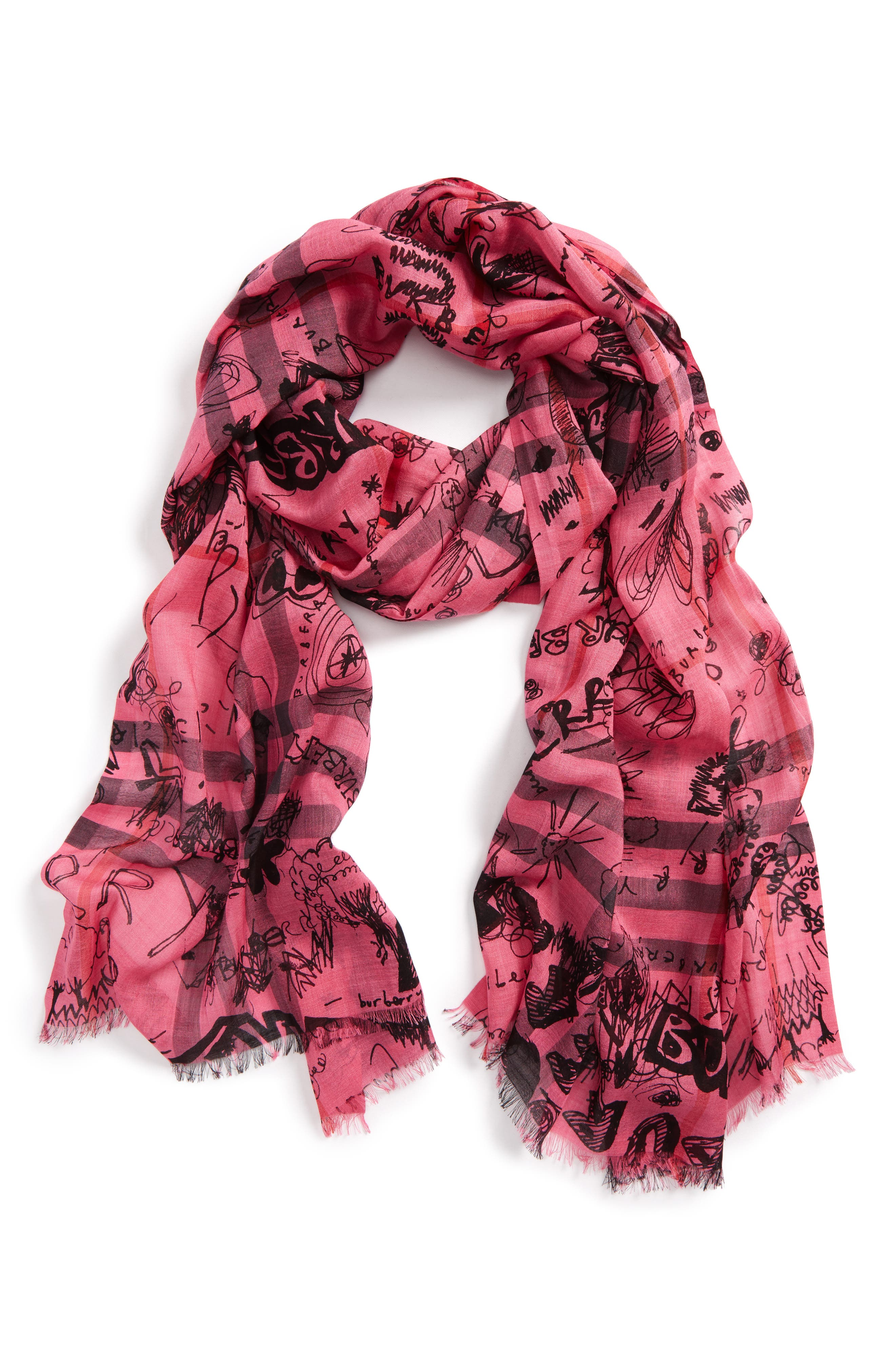 Doodle Print Check Wool & Silk Scarf,                         Main,                         color, Neon Pink