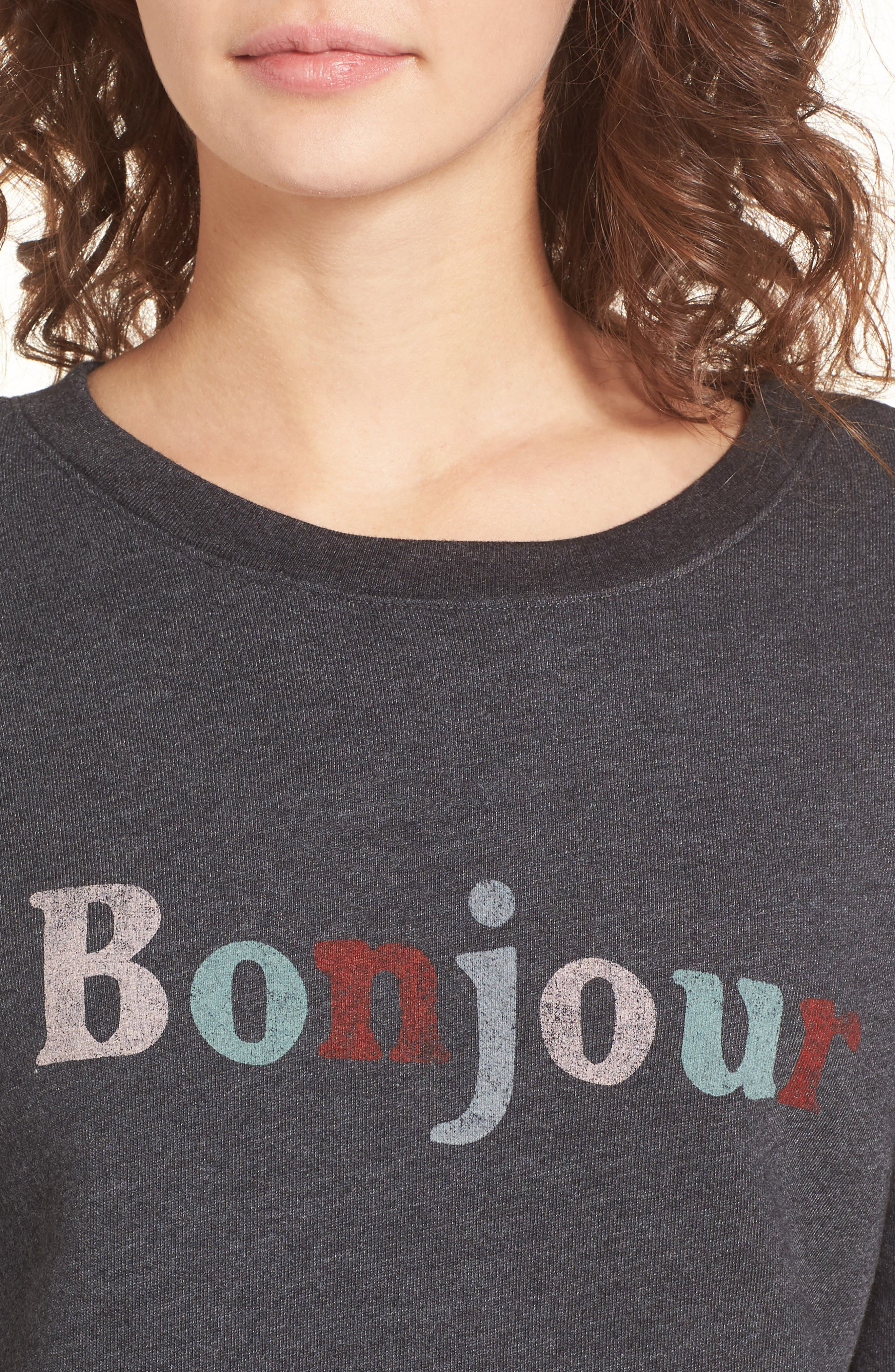Bonjour Sweatshirt,                             Alternate thumbnail 4, color,                             Faded Black