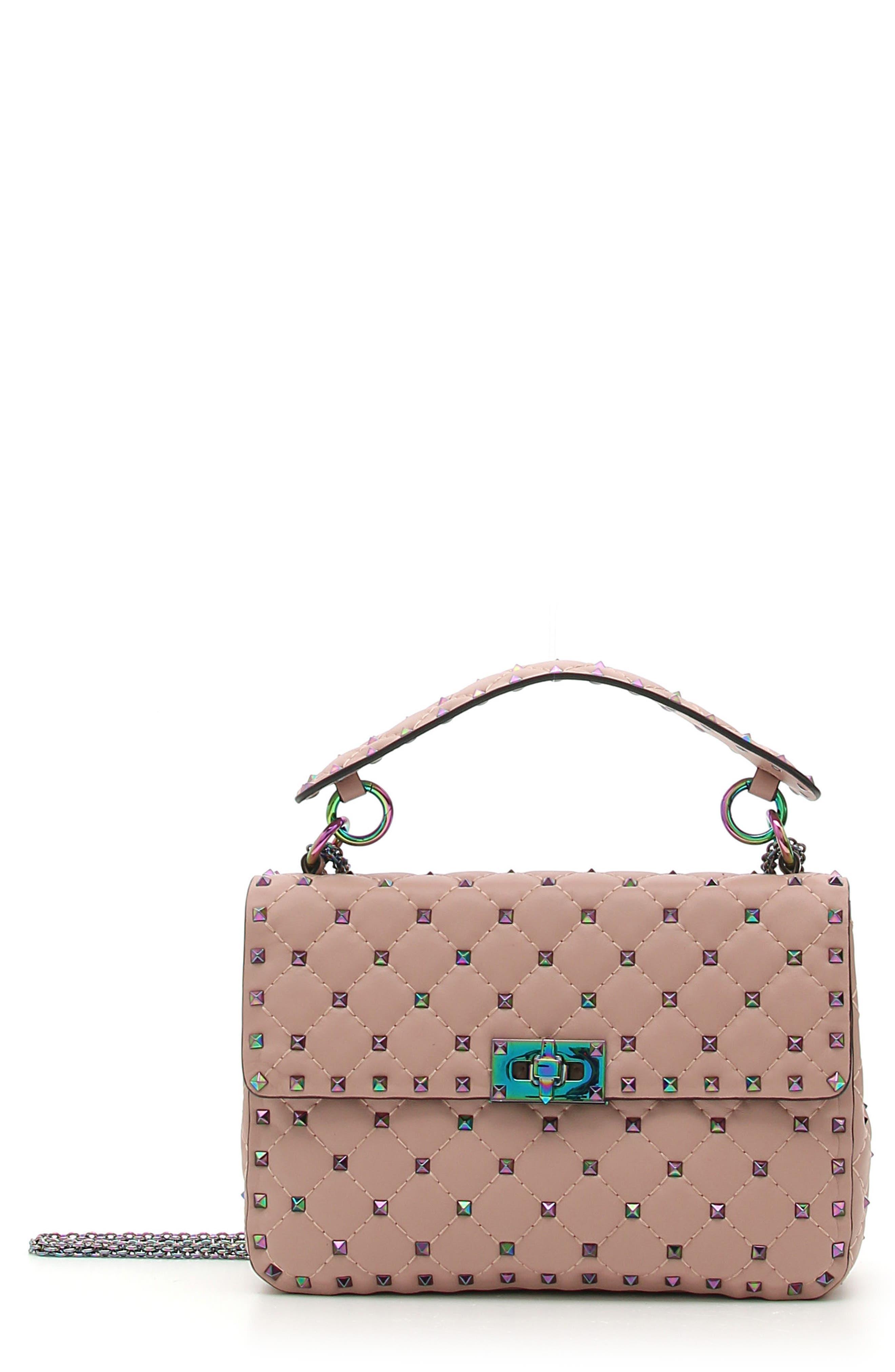 Rockstud Lambskin Leather Shoulder Bag,                         Main,                         color, Dusty Rose