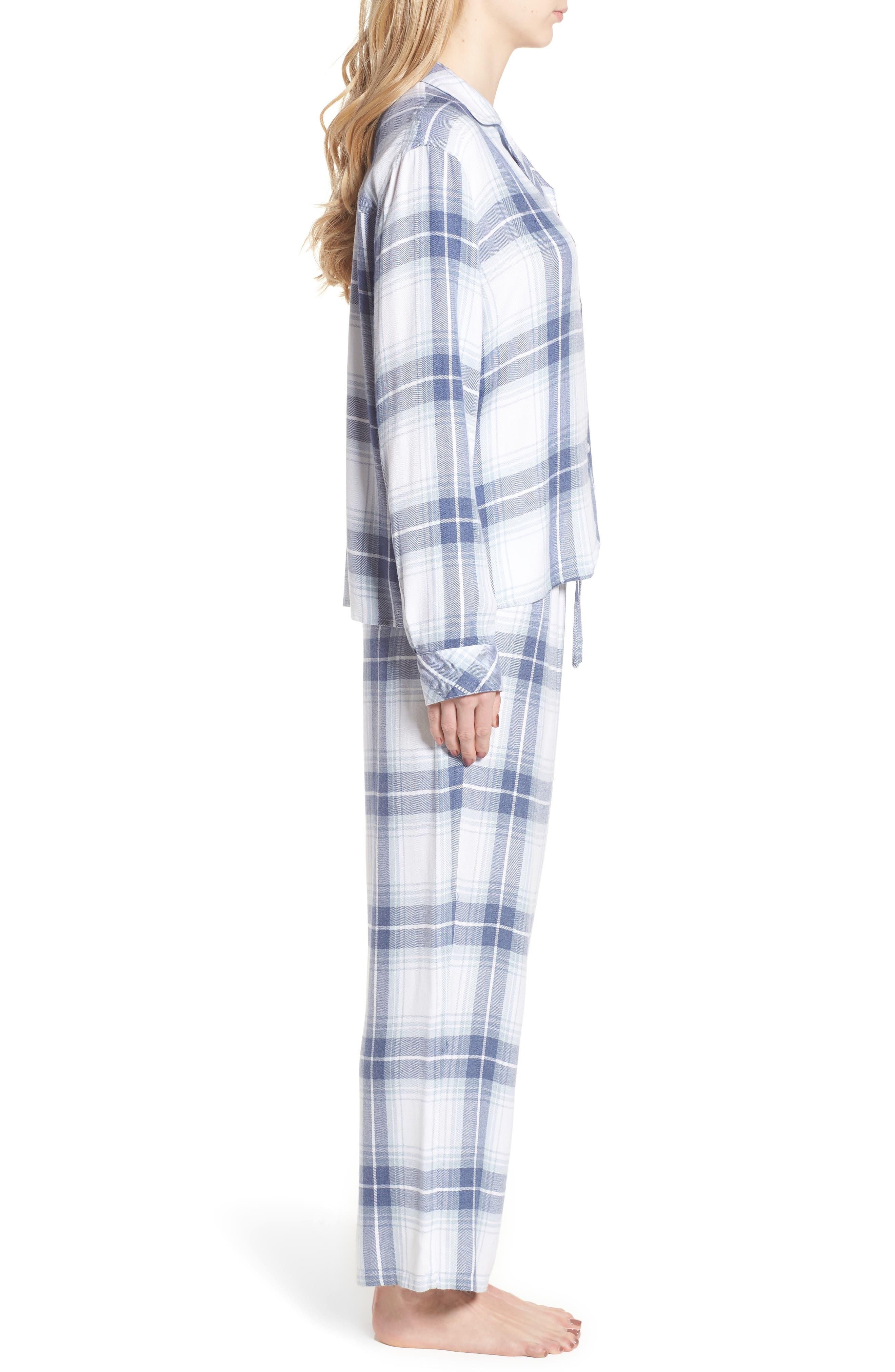 Plaid Pajamas,                             Alternate thumbnail 3, color,                             Pacific Sky White