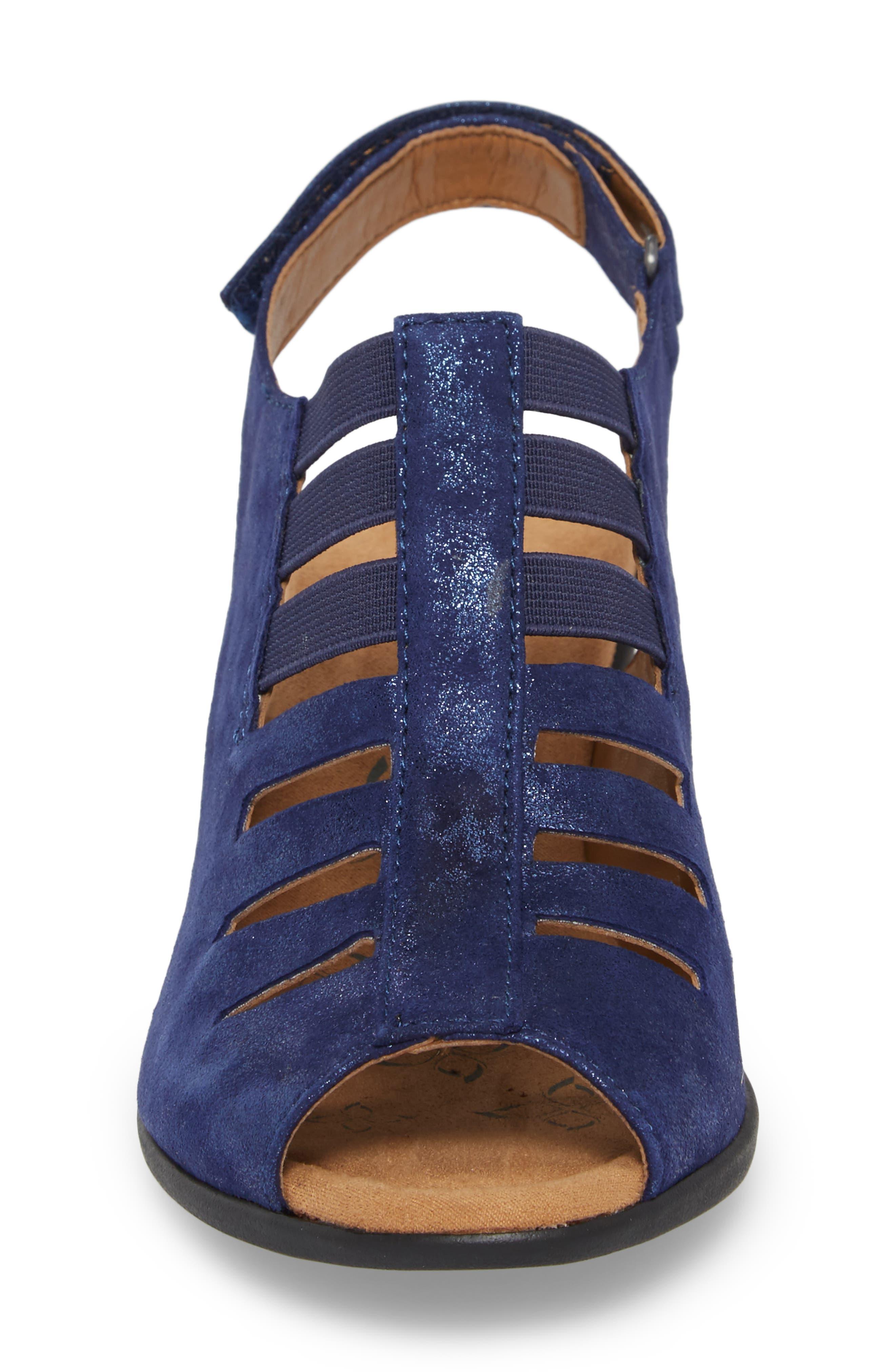 Faye Sandal,                             Alternate thumbnail 4, color,                             Pea Coat Navy Leather