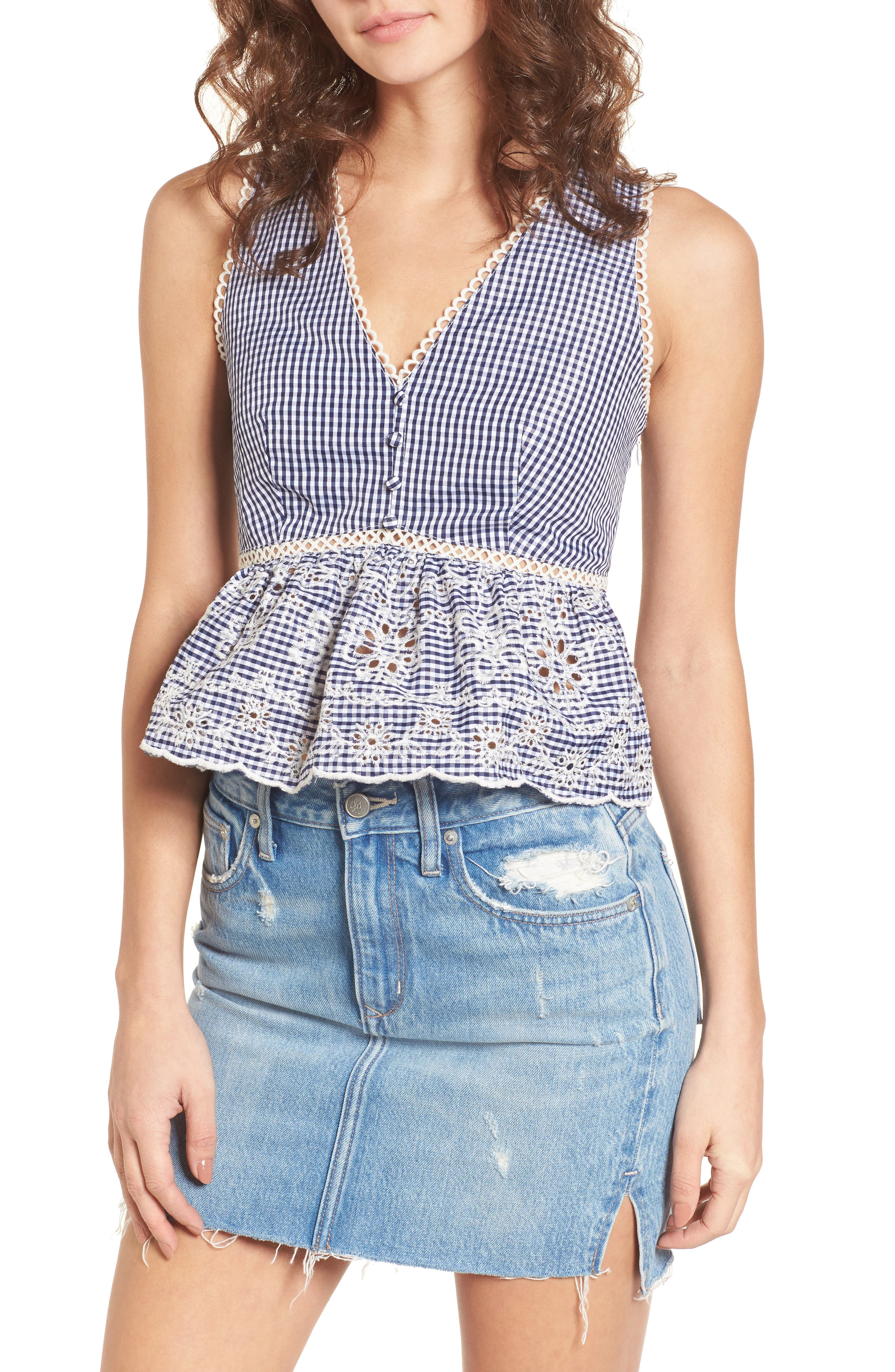 Embroidered Gingham Crop Top,                             Main thumbnail 1, color,                             Navy Gingham