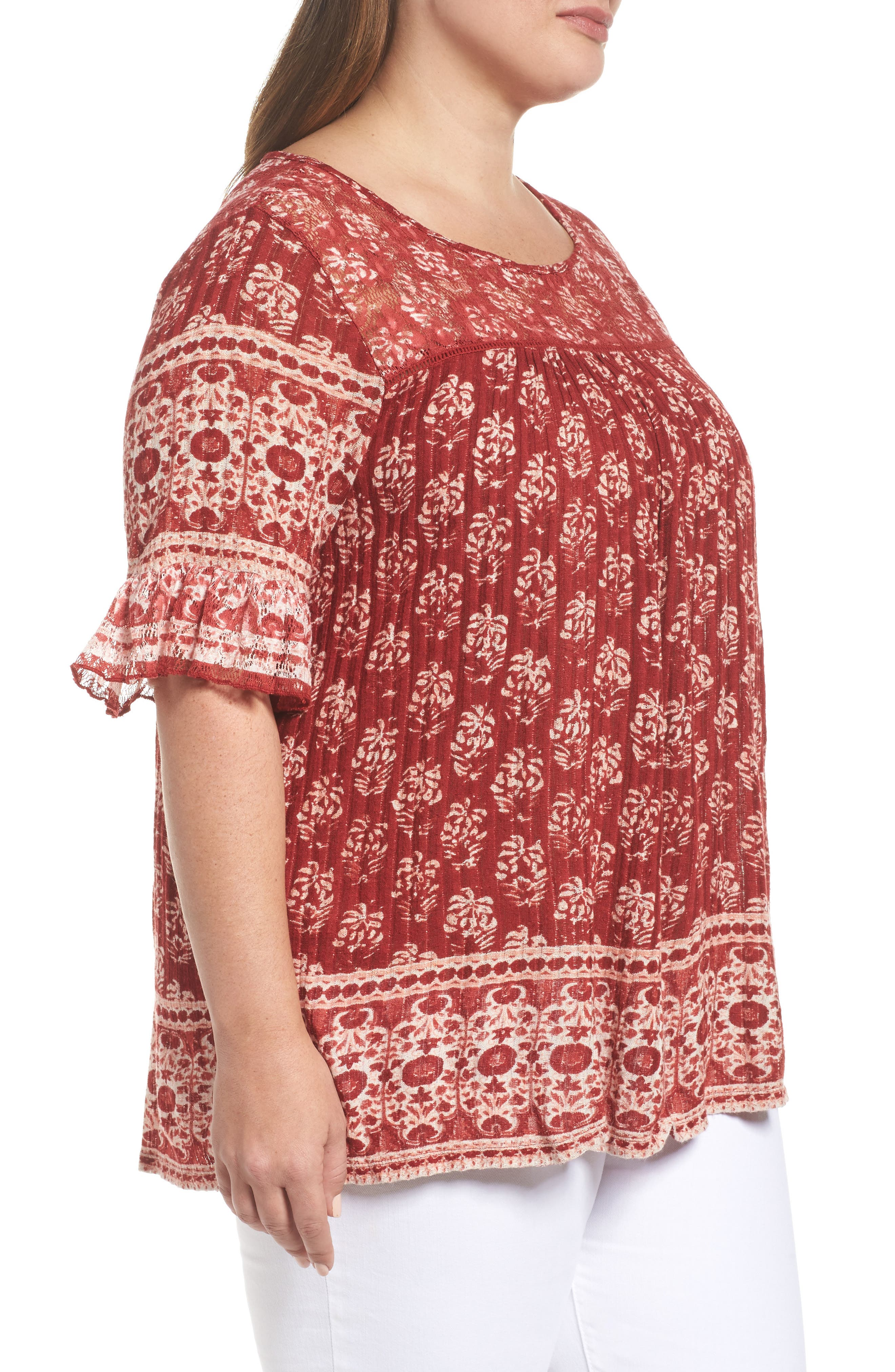 Alternate Image 3  - Lucky Brand Print Top (Plus Size)