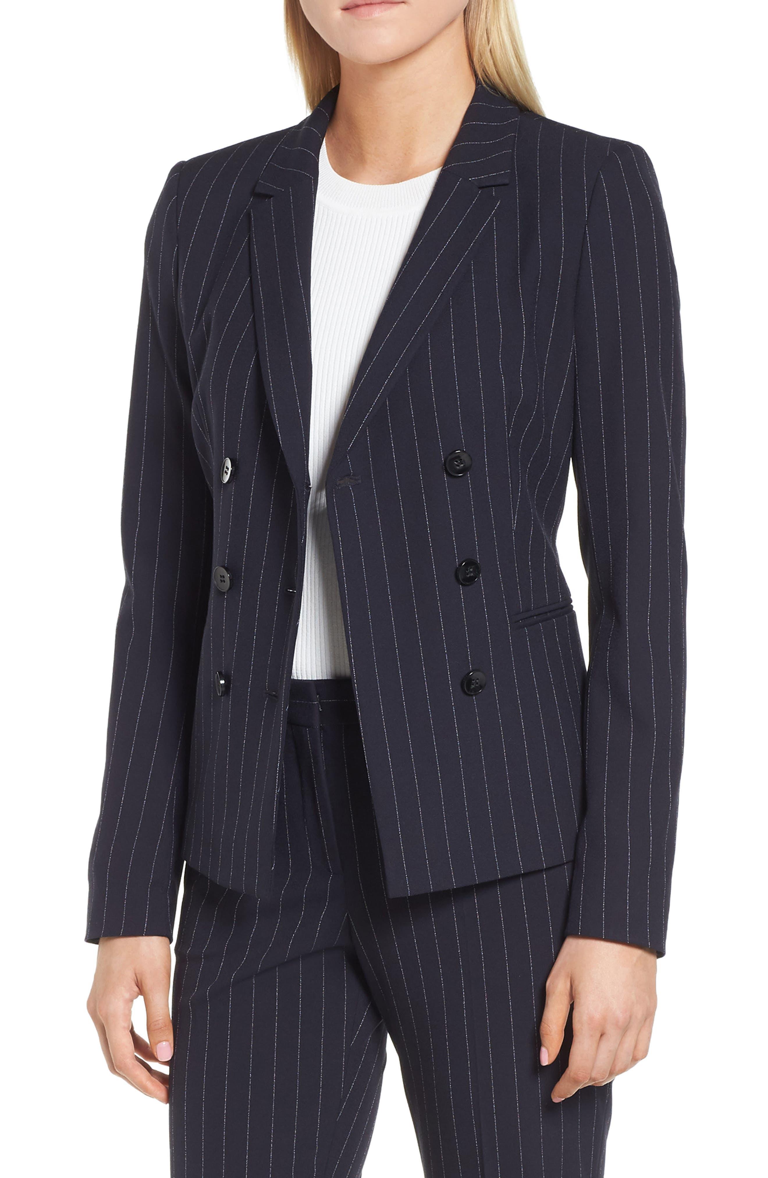 Jelaya Double Breasted Suit Jacket,                             Main thumbnail 1, color,                             Navy Fantasy