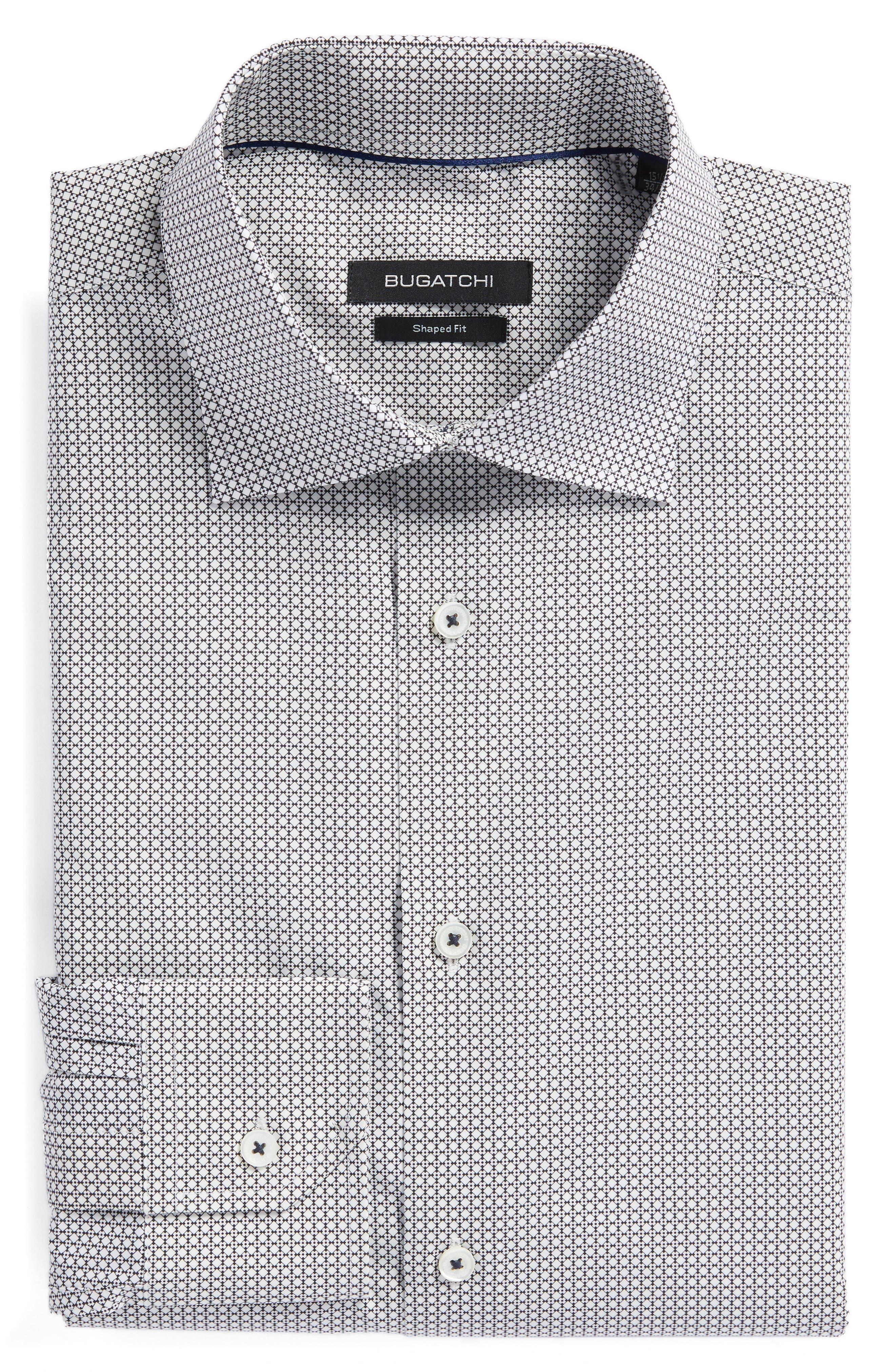 Trim Fit Print Dress Shirt,                             Alternate thumbnail 6, color,                             Platinum