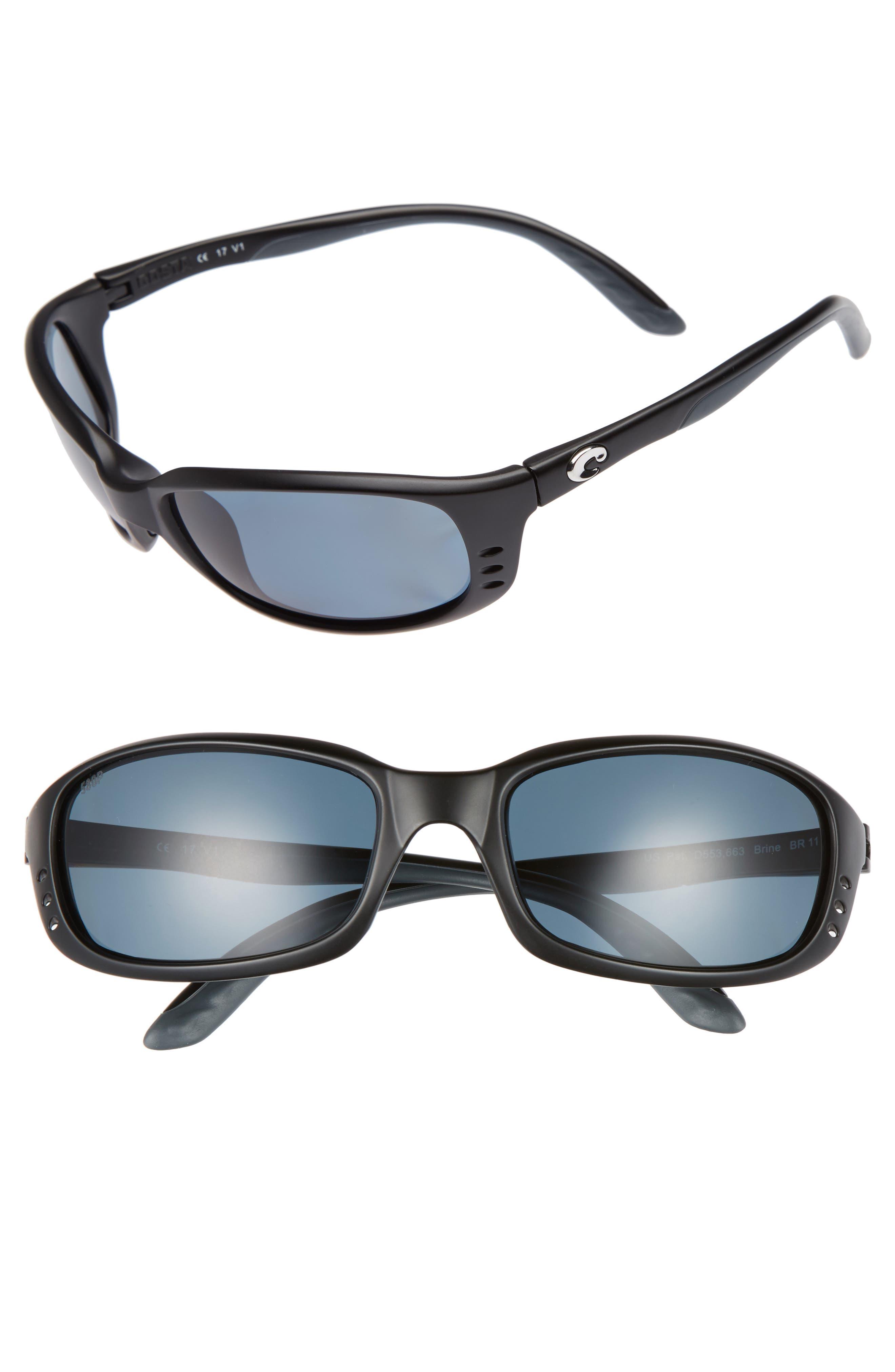 Brine Polarized 60mm Sunglasses,                             Main thumbnail 1, color,                             Matte Black/ Grey