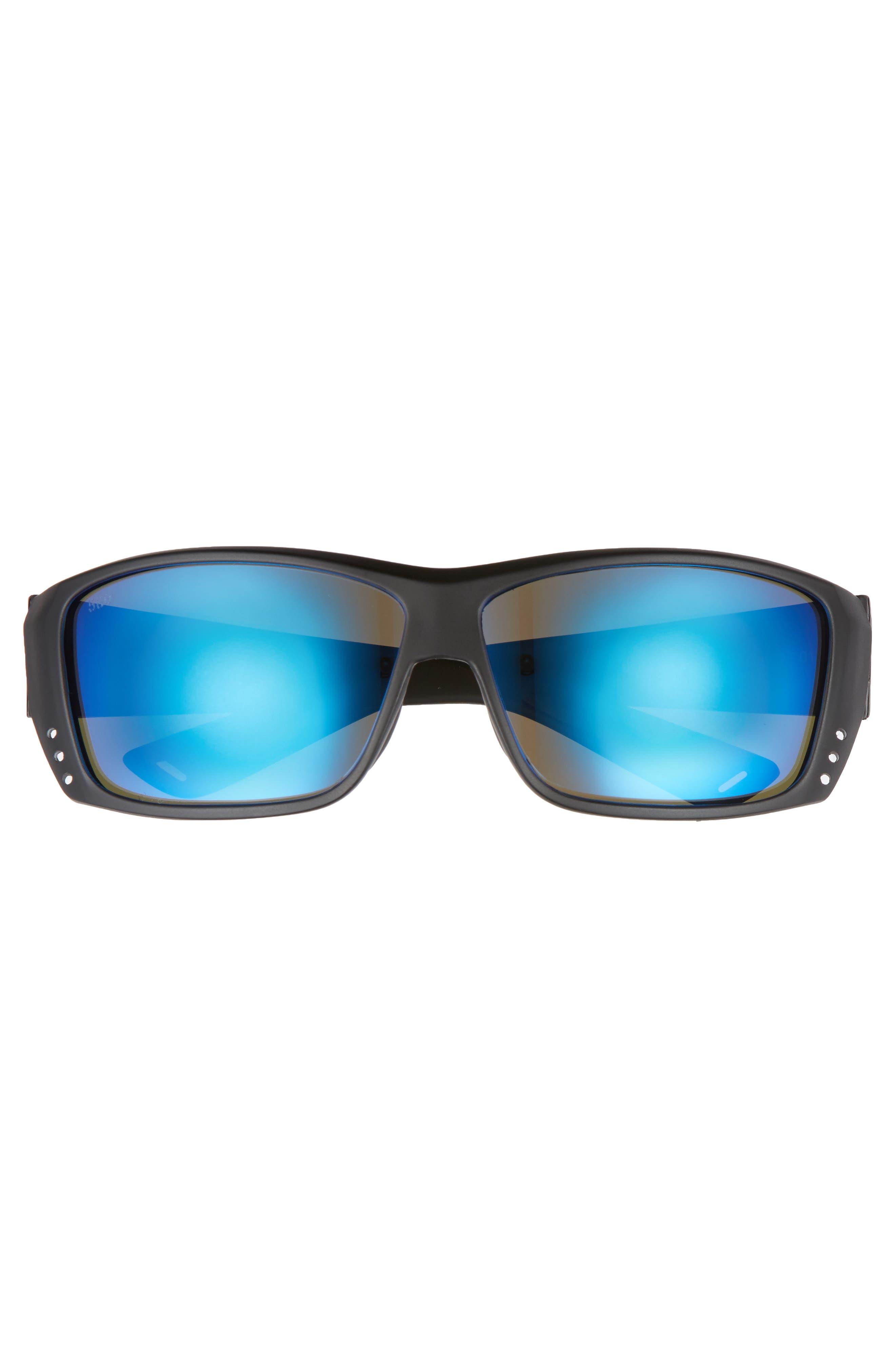 Cat Cay 60mm Polarized Sunglasses,                             Alternate thumbnail 2, color,                             Blackout/ Blue Mirror