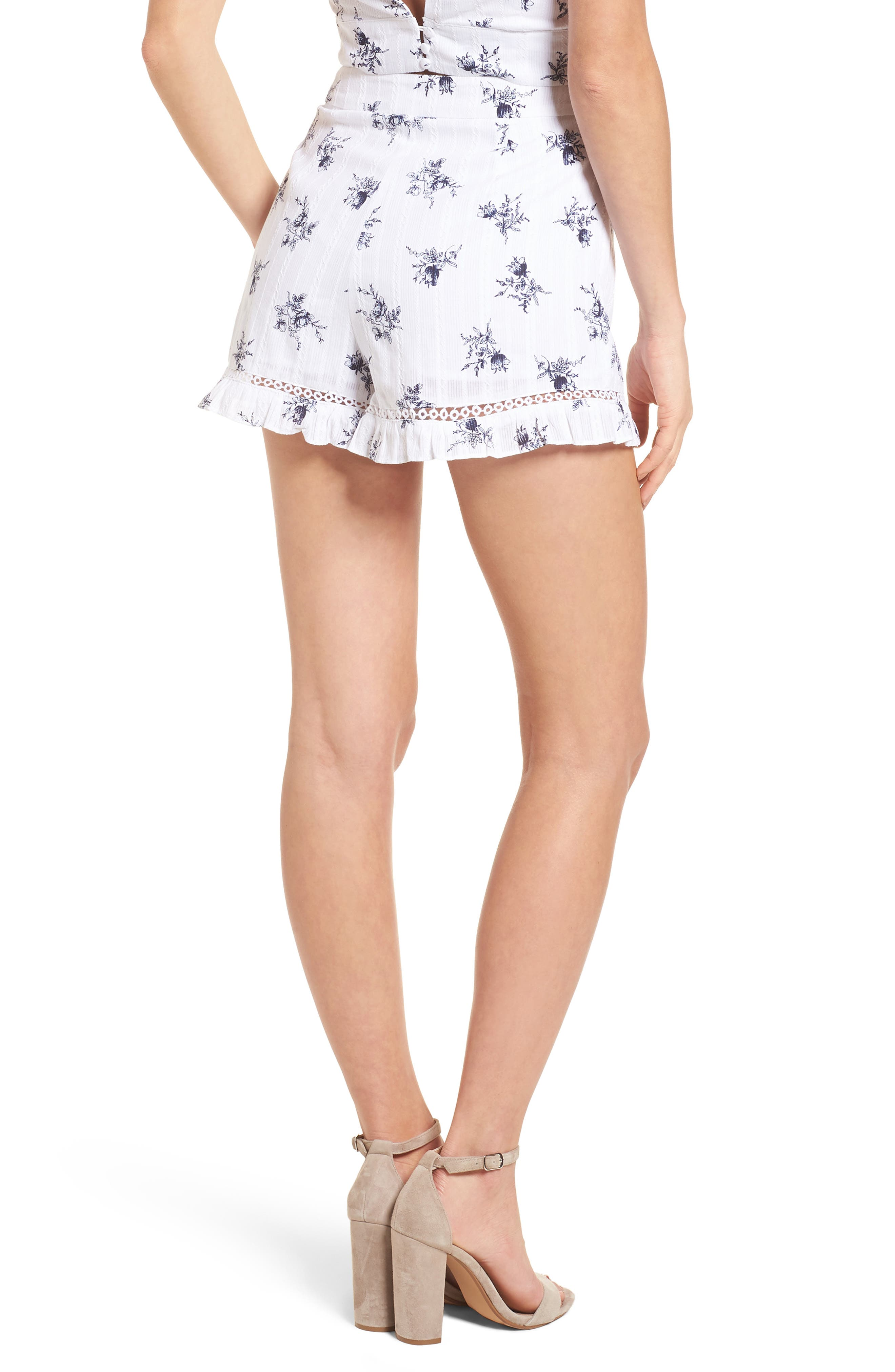 Ruffle Shorts,                             Alternate thumbnail 4, color,                             White/ Navy