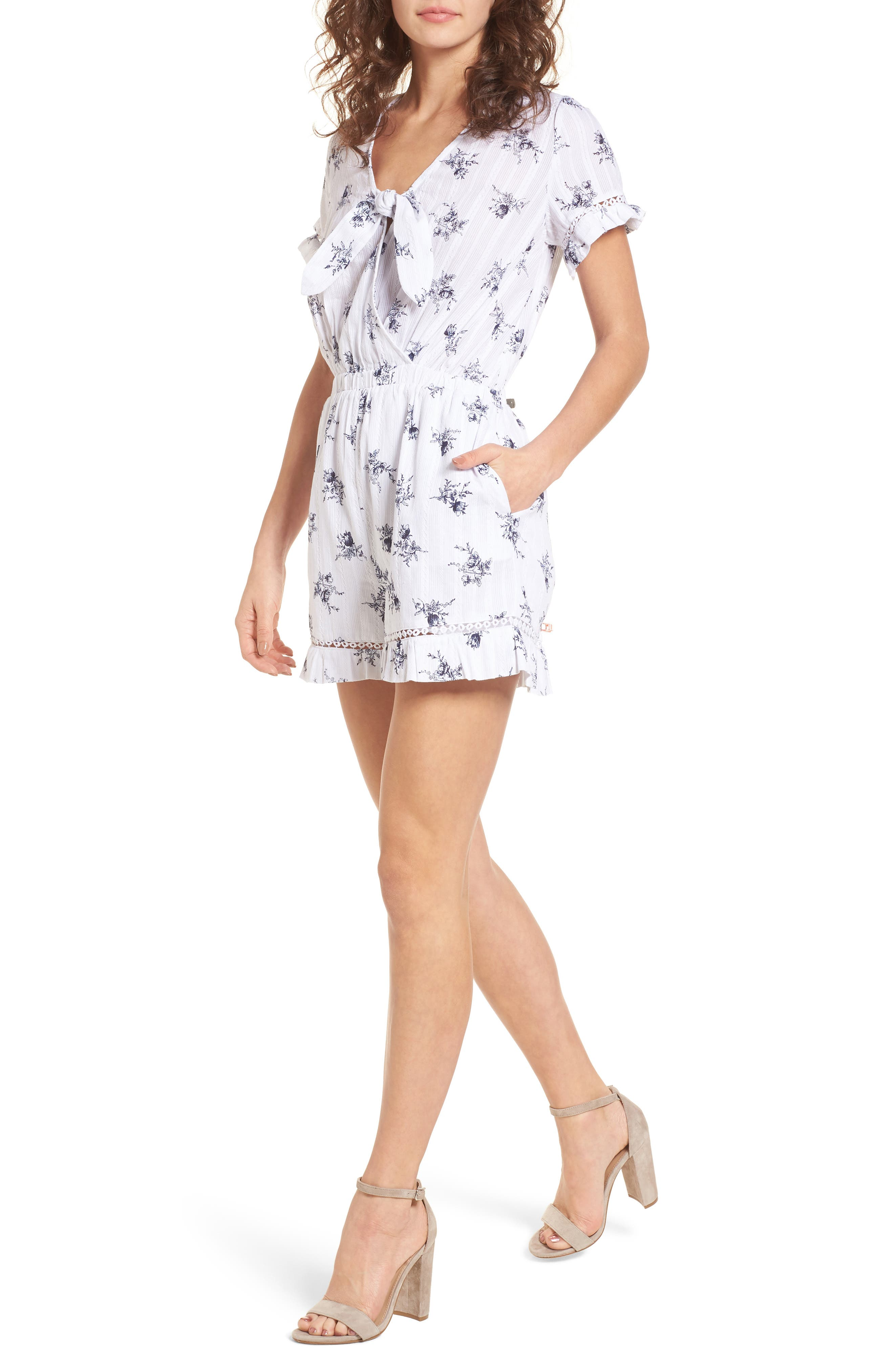 Tie Front Romper,                         Main,                         color, White/ Navy