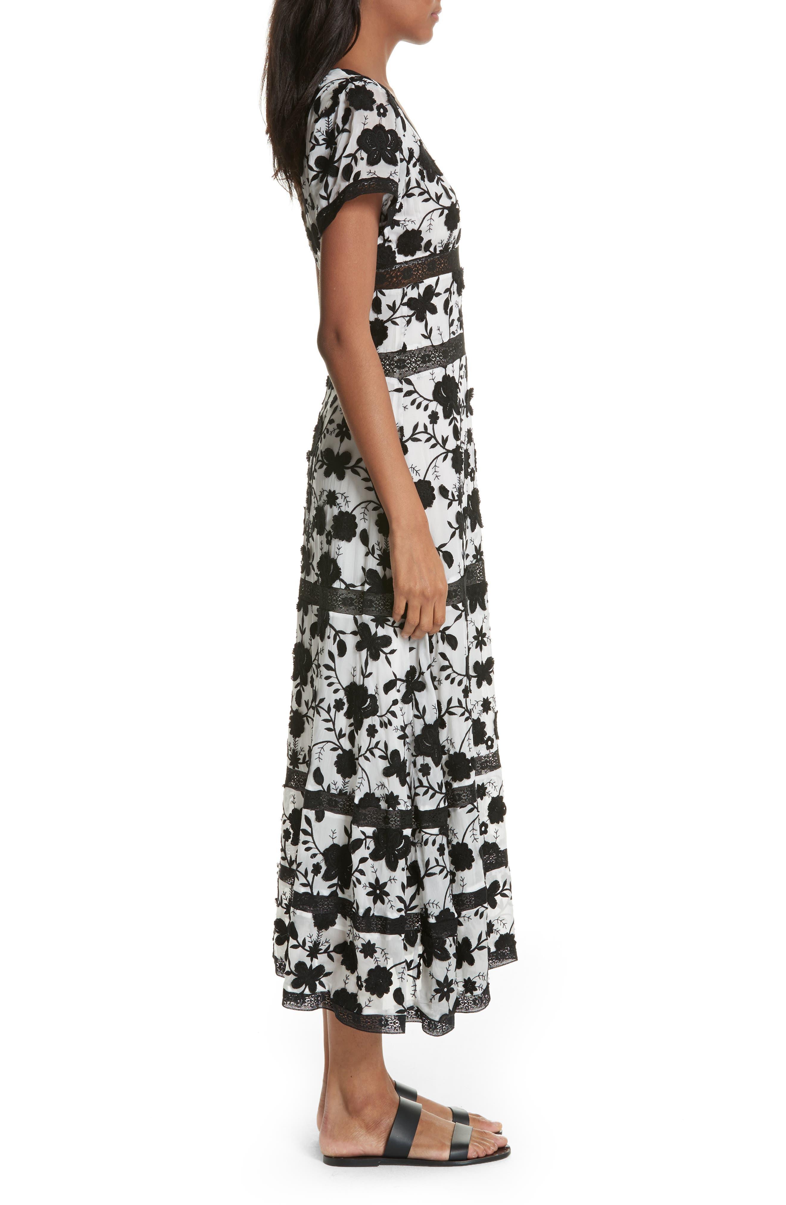 Fusca Floral Print Maxi Dress,                             Alternate thumbnail 3, color,                             Porcelain/ Caviar