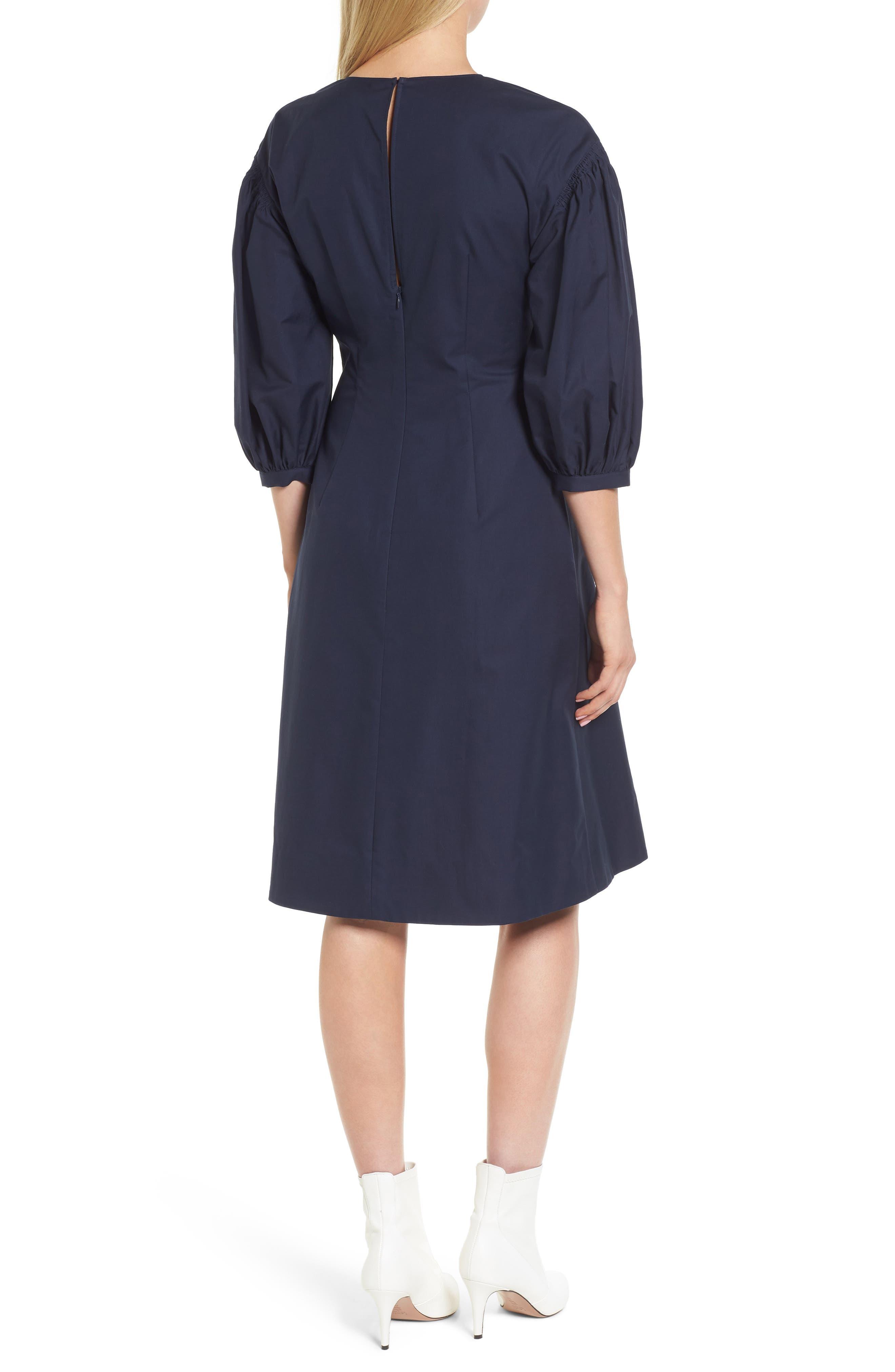 Blouson Sleeve A-Line Twill Dress,                             Alternate thumbnail 2, color,                             Navy Night