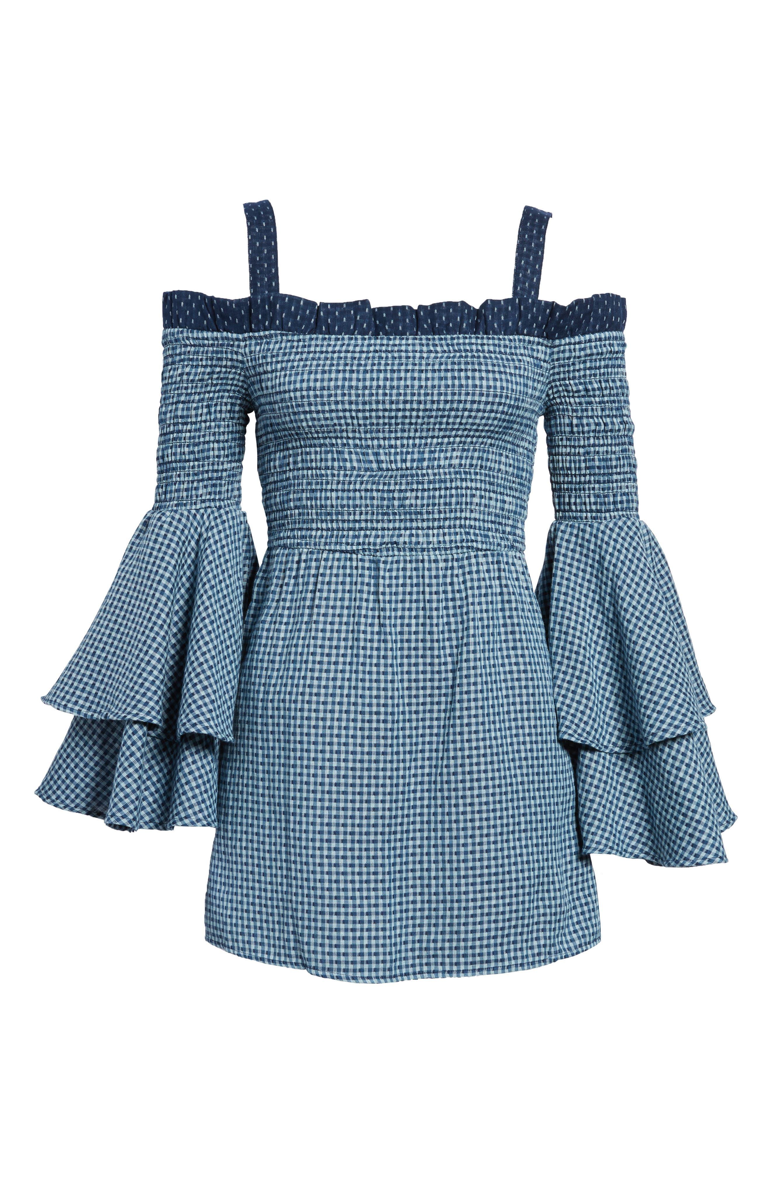 Nicki Cold Shoulder Minidress,                             Alternate thumbnail 6, color,                             Sea