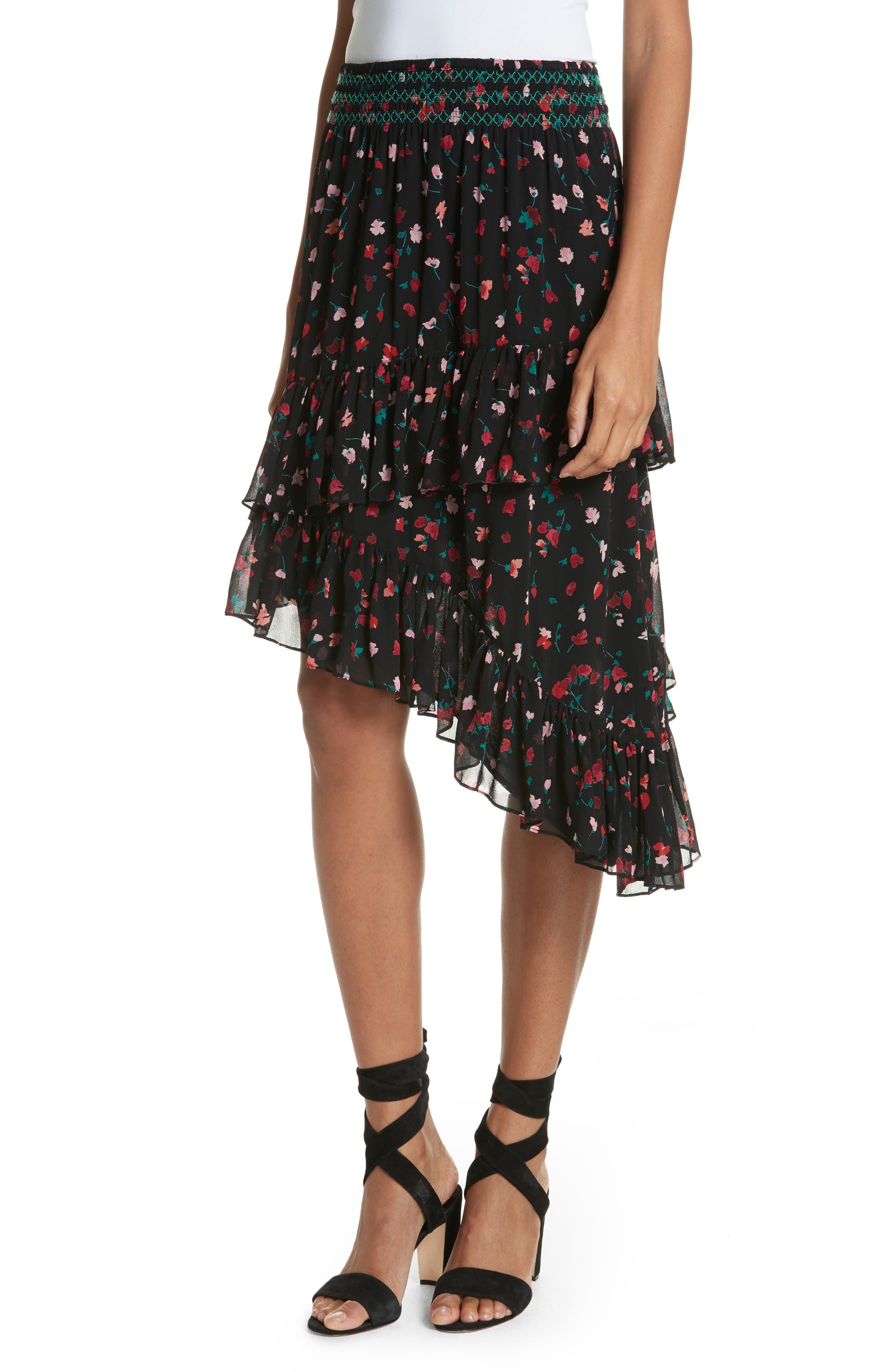 Gorowen Floral Silk Skirt,                         Main,                         color, Caviar