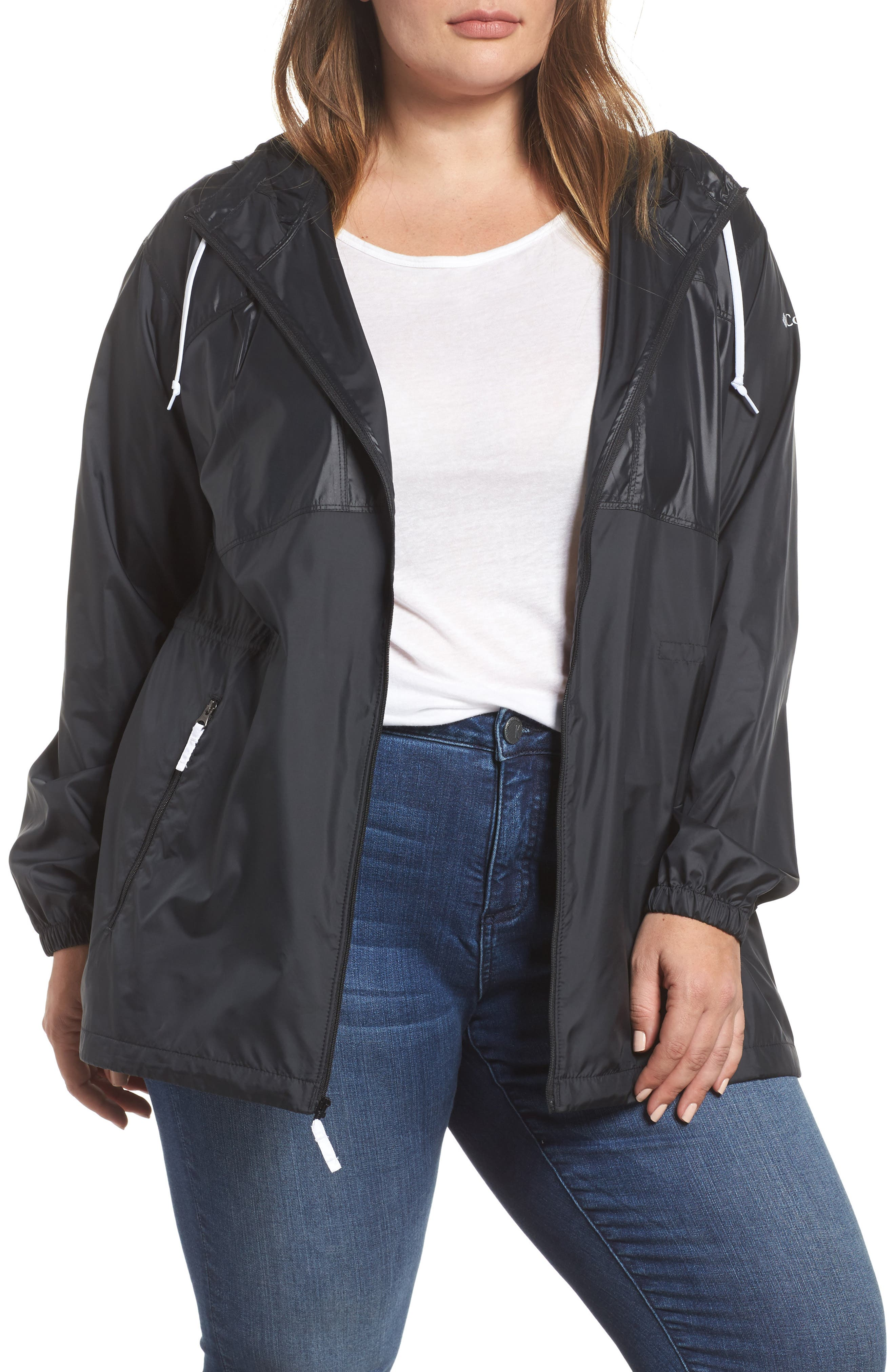 Flashback<sup>™</sup> Water Resistant Hooded Windbreaker,                         Main,                         color, Black Shiny/ Matte White