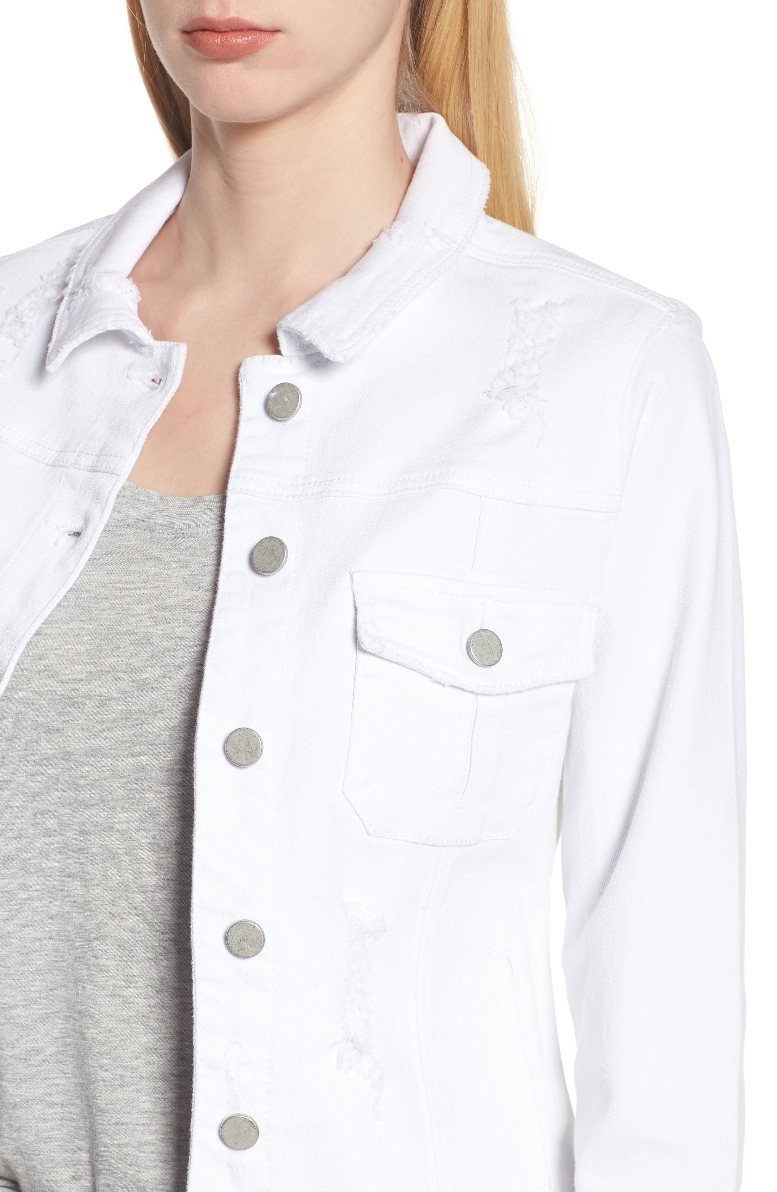 Classic Fit Distressed Denim Jacket,                             Alternate thumbnail 4, color,                             White