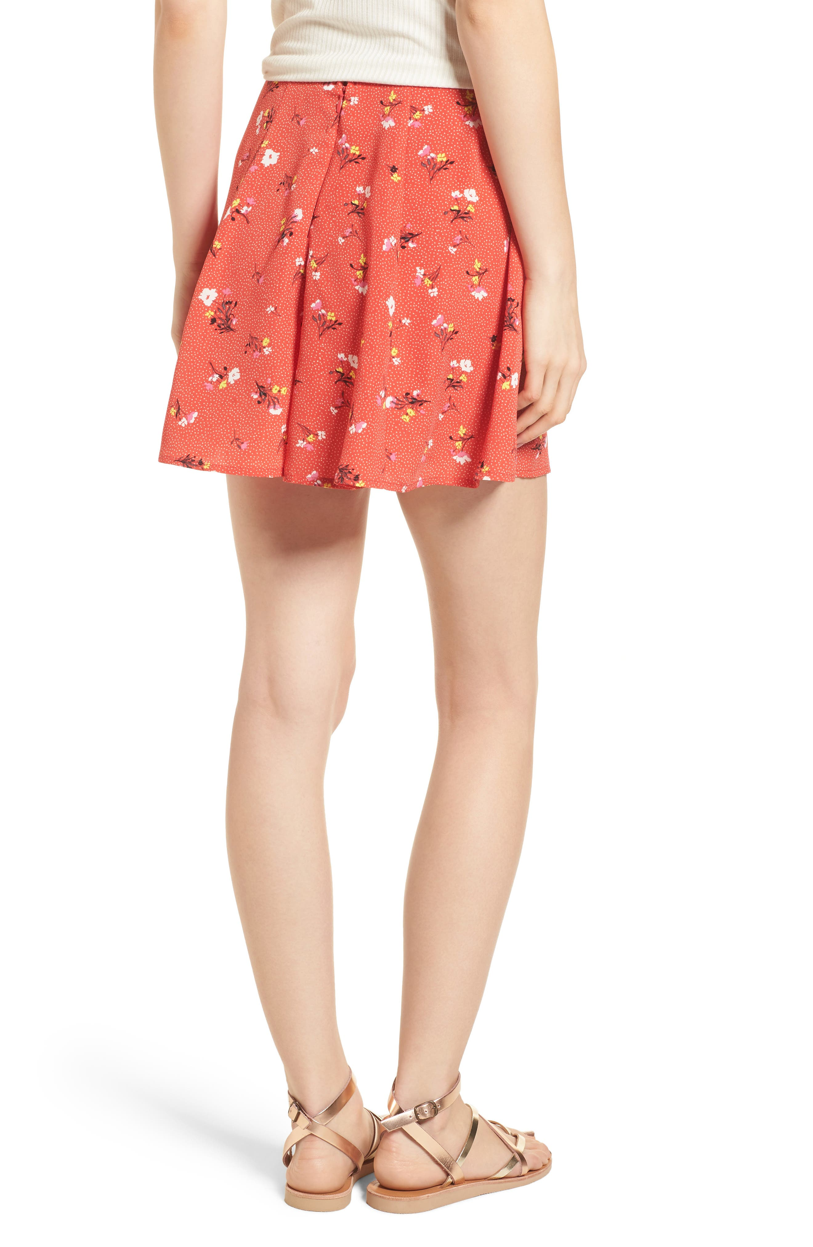 Print High Waist Shorts,                             Alternate thumbnail 3, color,                             Red Dot Floral