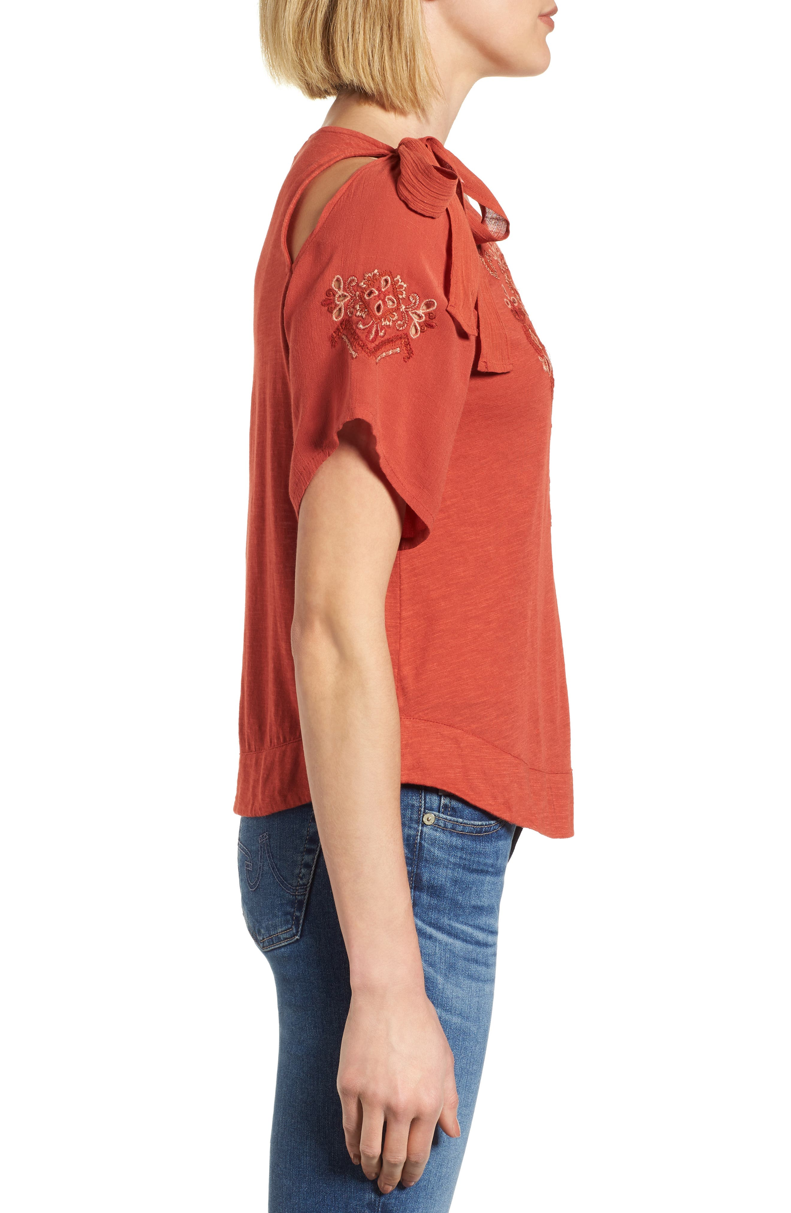 Tie Shoulder Embroidered Top,                             Alternate thumbnail 2, color,                             Heirloom Red