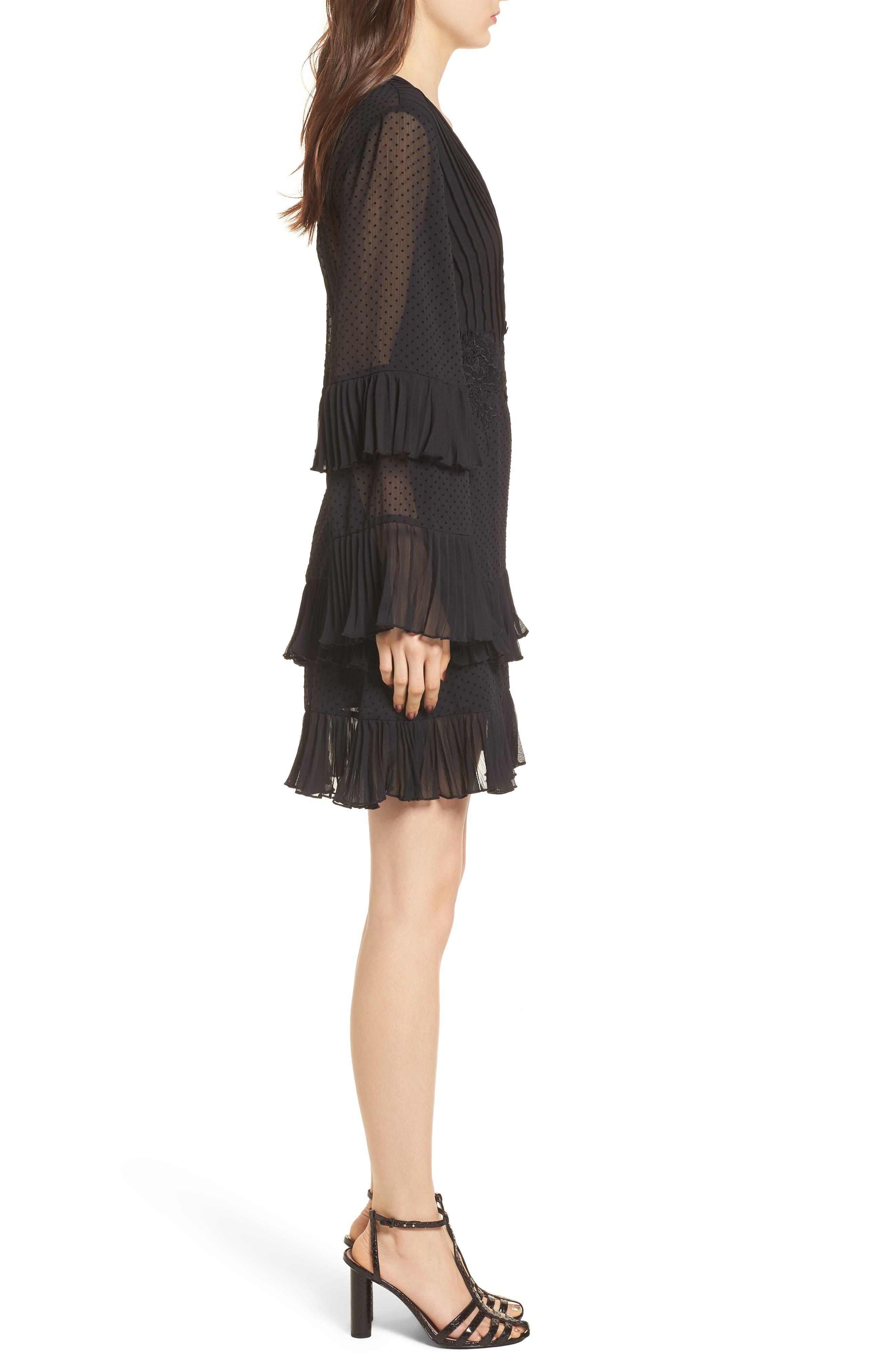 Horizons Bell Sleeve Minidress,                             Alternate thumbnail 4, color,                             Black