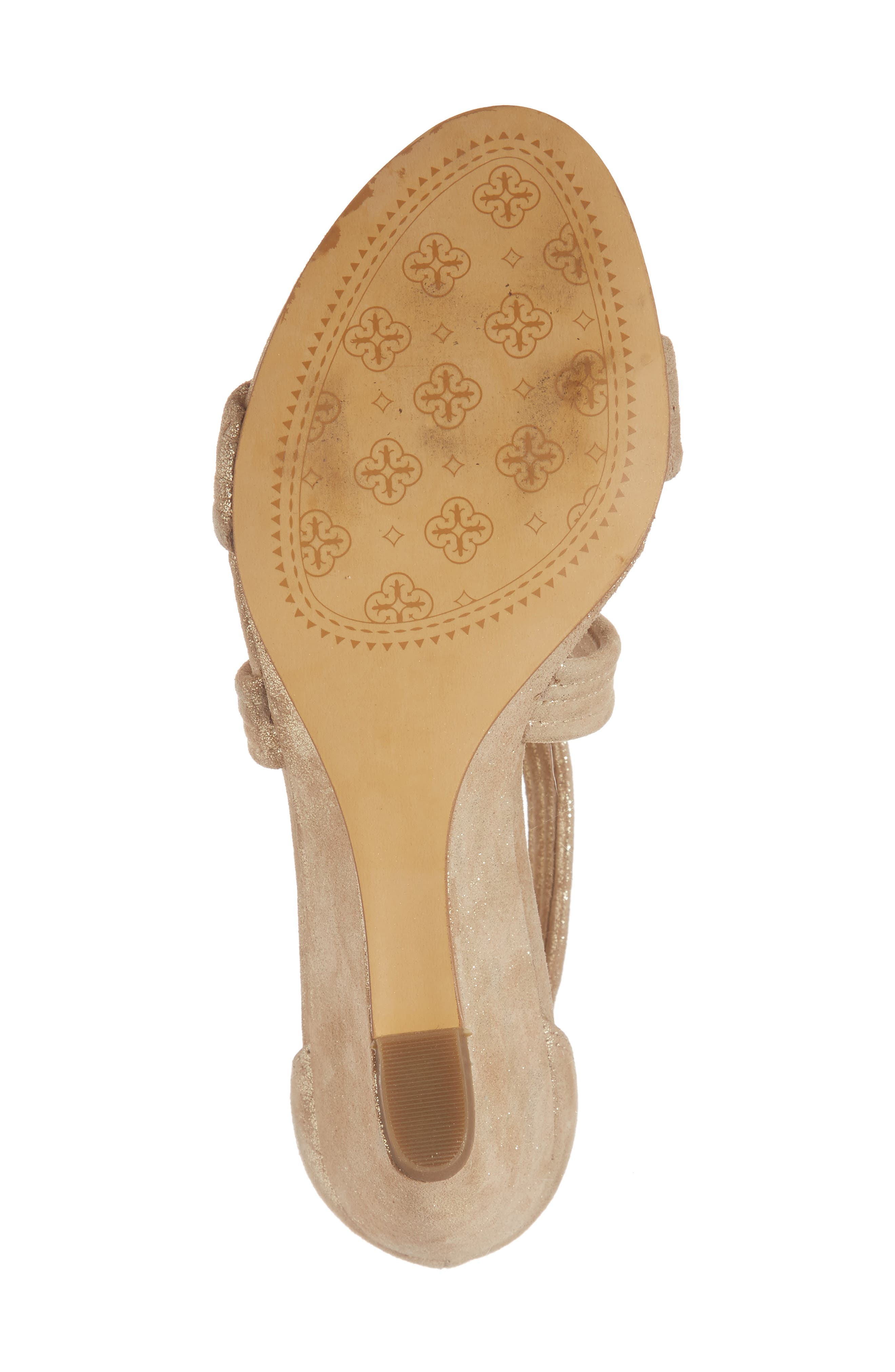 Fia Wedge Sandal,                             Alternate thumbnail 6, color,                             Platino Distressed Suede