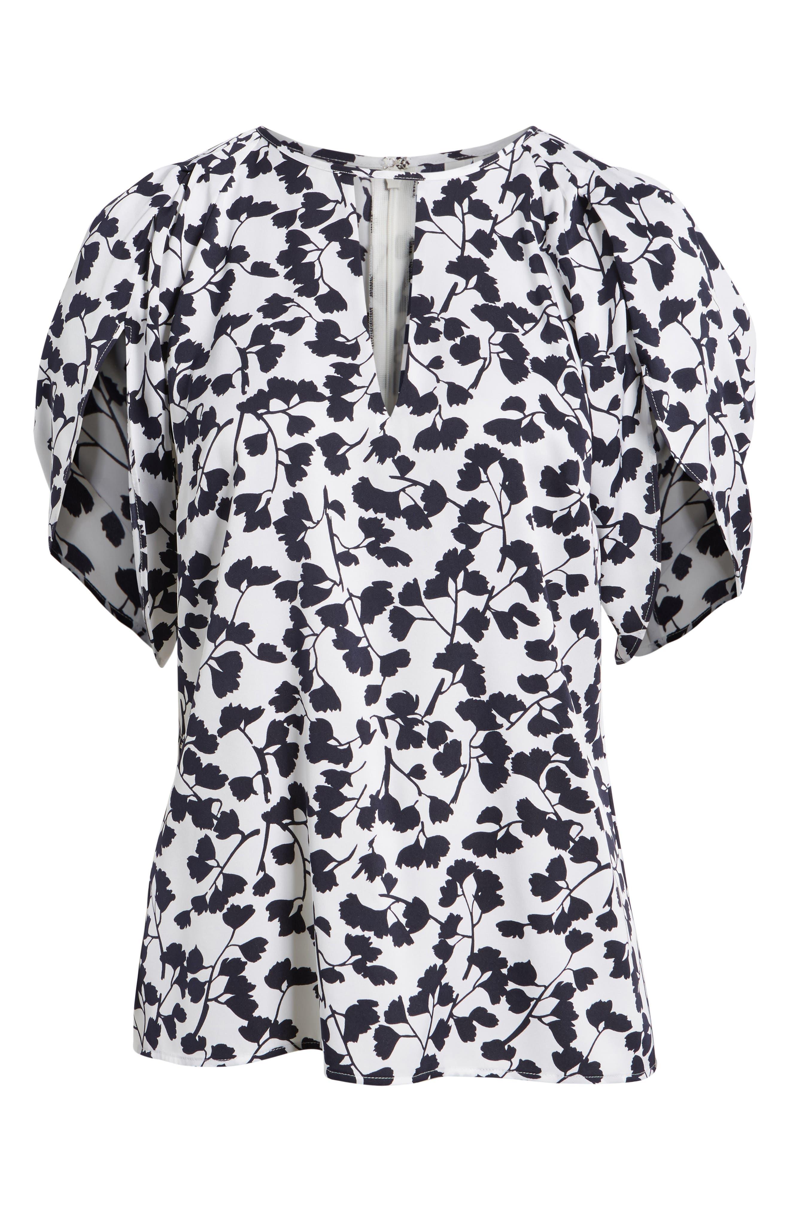 Draped Sleeve Stretch Silk Top,                             Alternate thumbnail 7, color,                             White Gingko Leaf