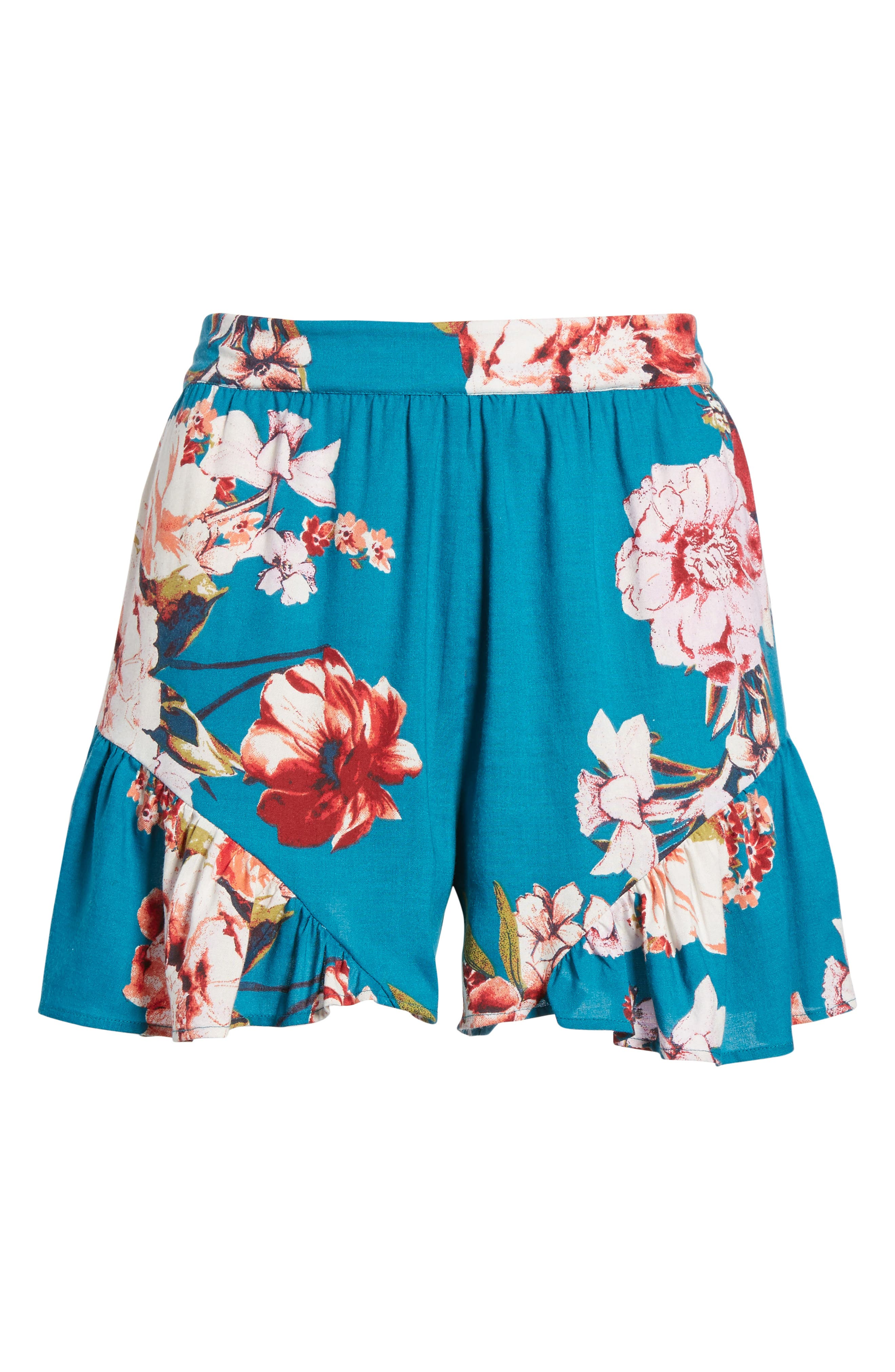 Floral Print Ruffle Hem Shorts,                             Alternate thumbnail 7, color,                             Teal/ Peach