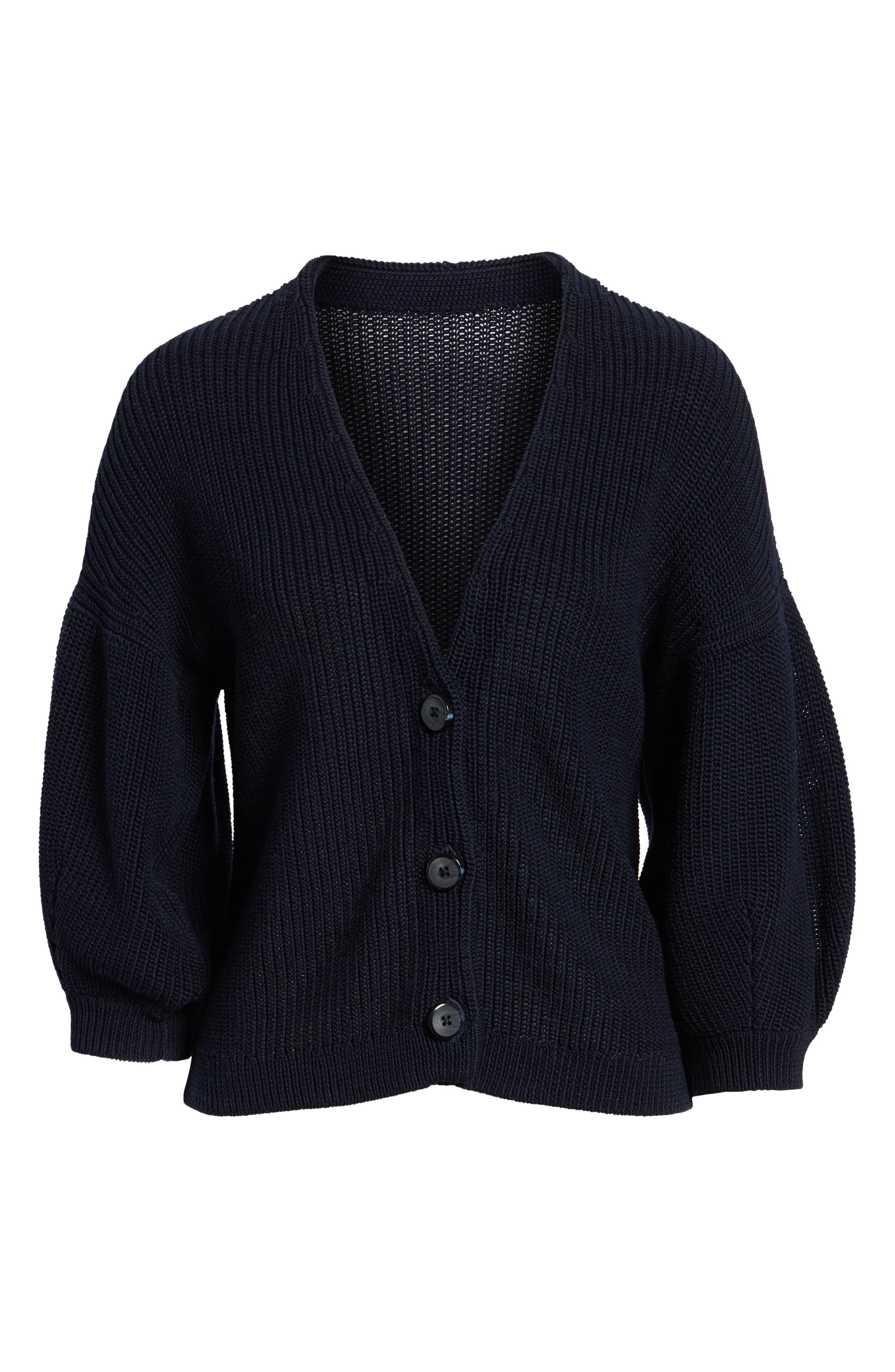 V-Neck Cotton Cardigan,                             Alternate thumbnail 6, color,                             Navy Night
