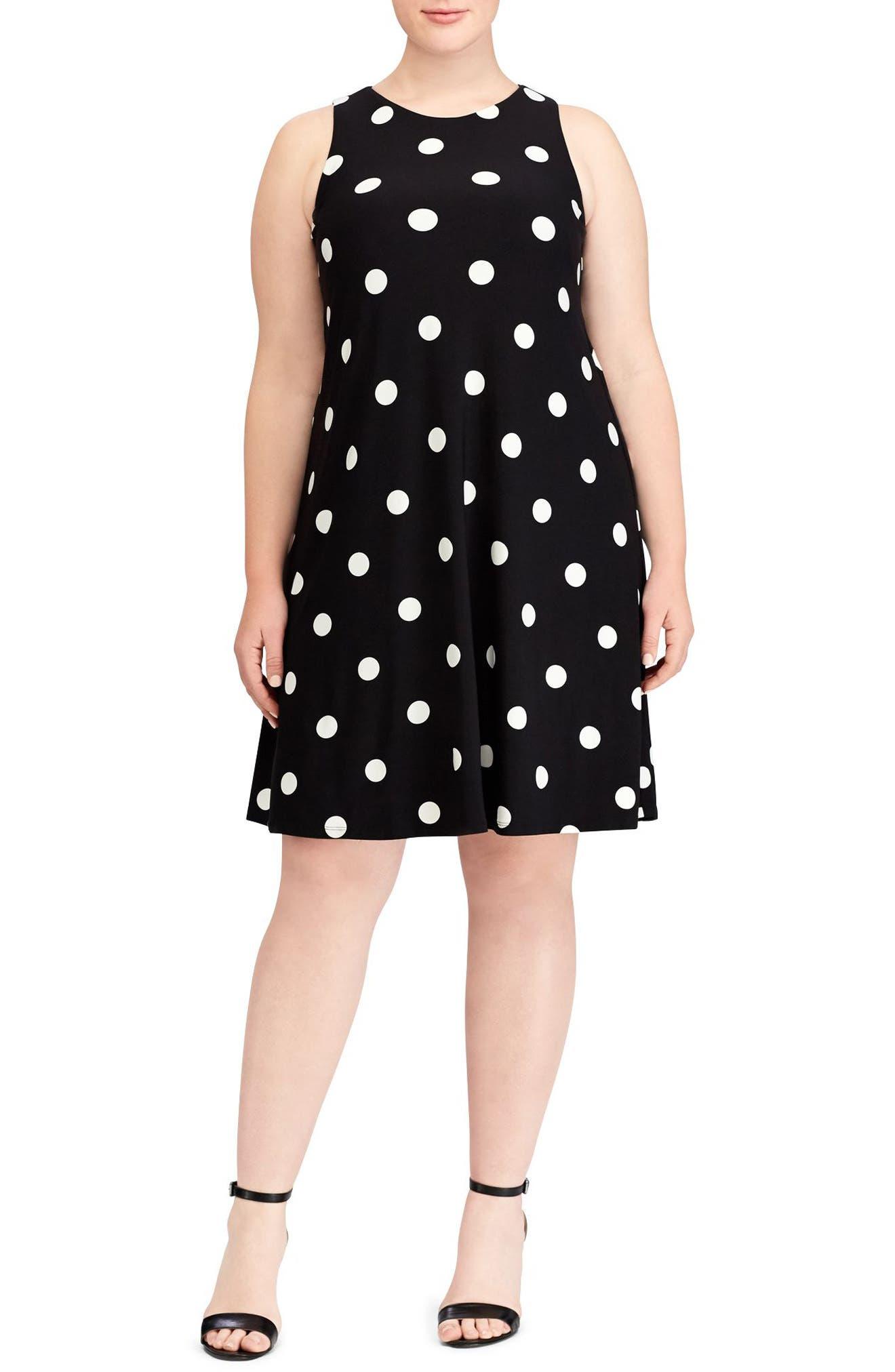 Suzan Peninsula Dot Shift Dress,                             Main thumbnail 1, color,                             Black-Colonial Cream