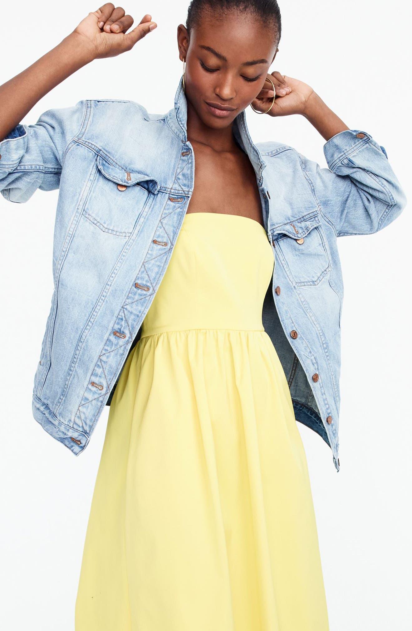 J.Crew Strapless Fit & Flare Dress,                             Alternate thumbnail 2, color,                             Bright Lemon