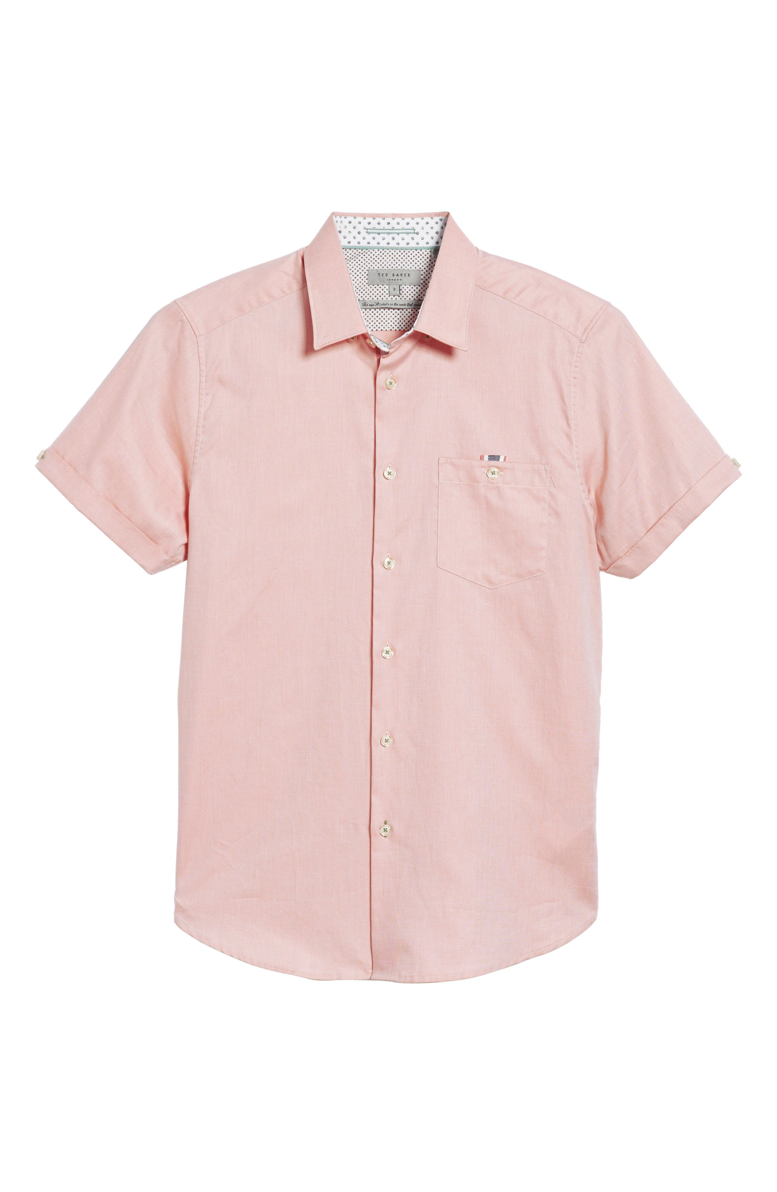 Wallo Trim Fit Short Sleeve Sport Shirt,                             Alternate thumbnail 6, color,                             Pink