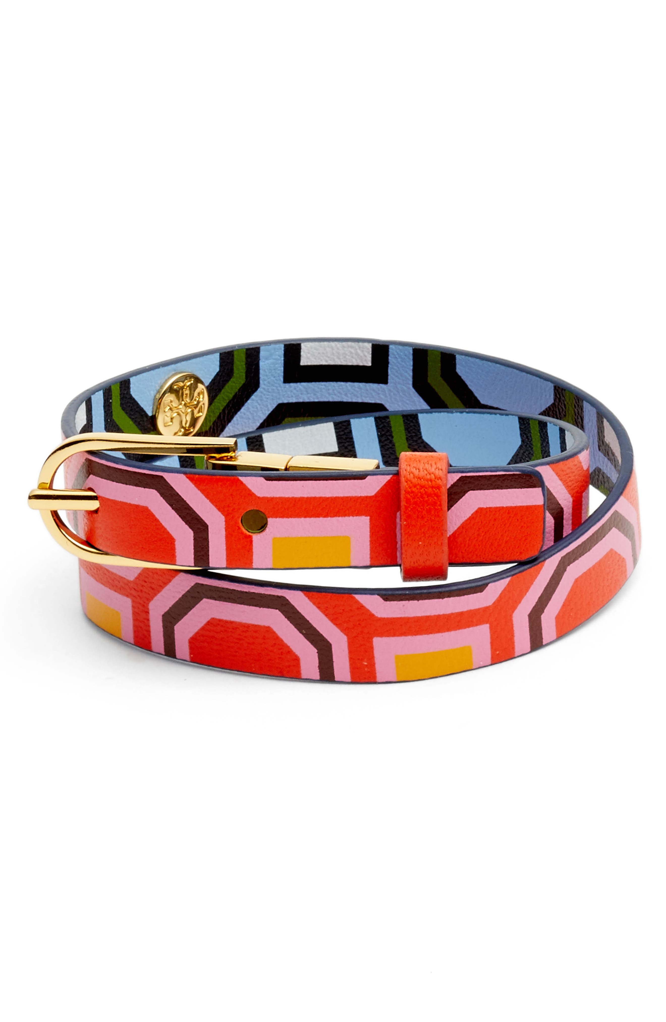 Reversible Leather Double Wrap Bracelet,                             Main thumbnail 1, color,                             Octagon Square Multi