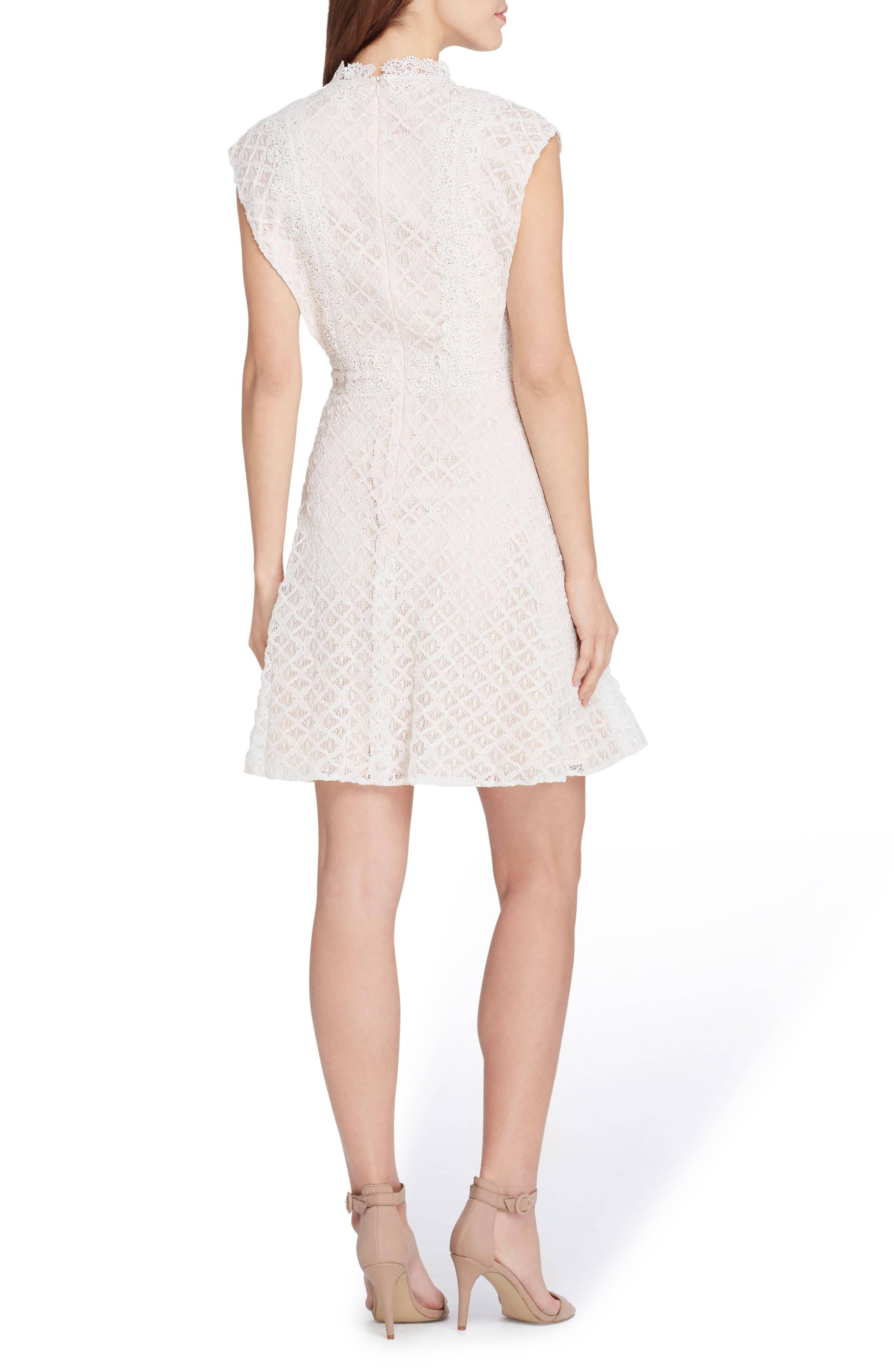 Lace Fit & Flare Dress,                             Alternate thumbnail 2, color,                             Ivory/ Nude