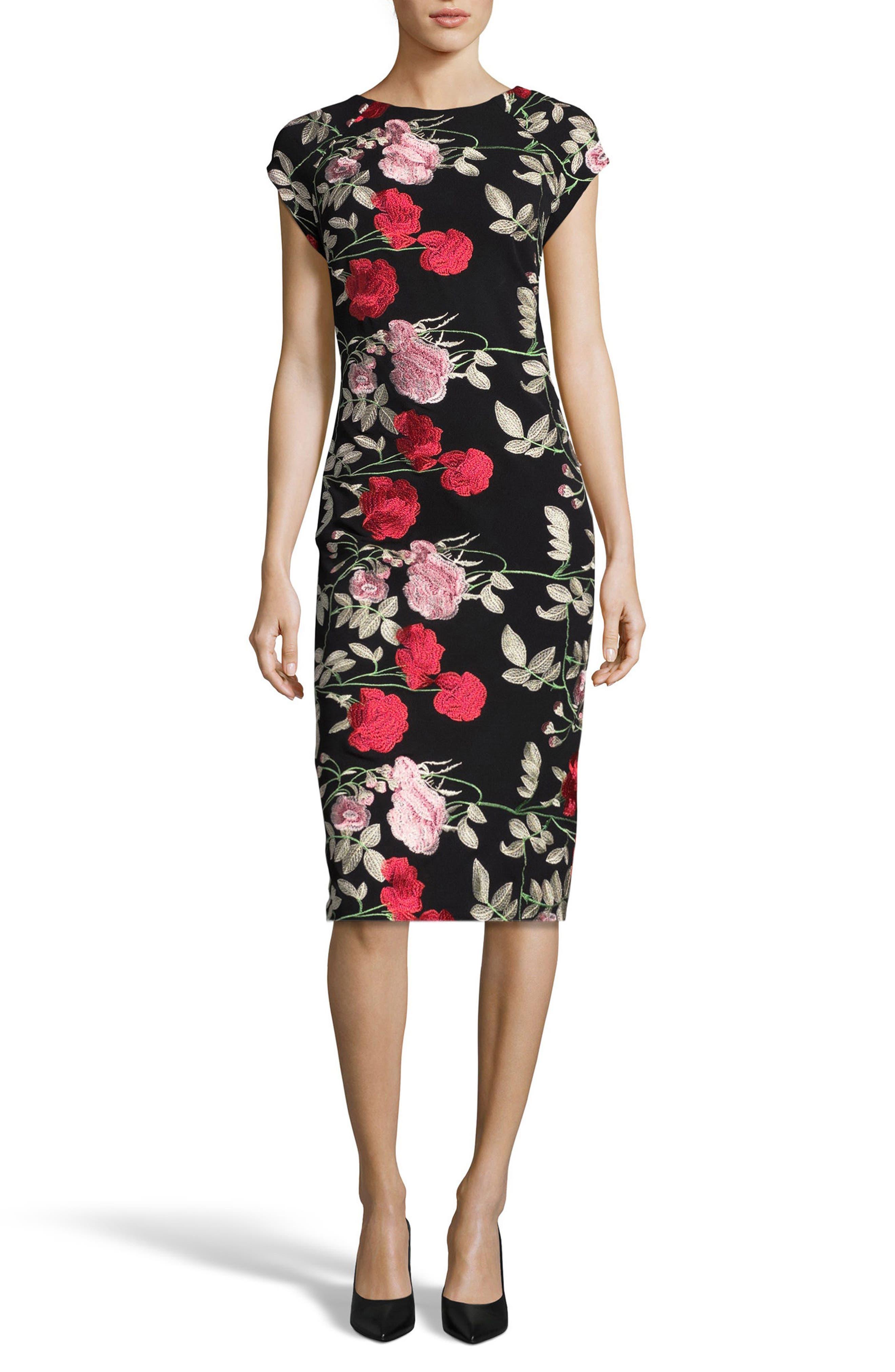 Embroidered Sheath Dress,                         Main,                         color, Black/ Blush