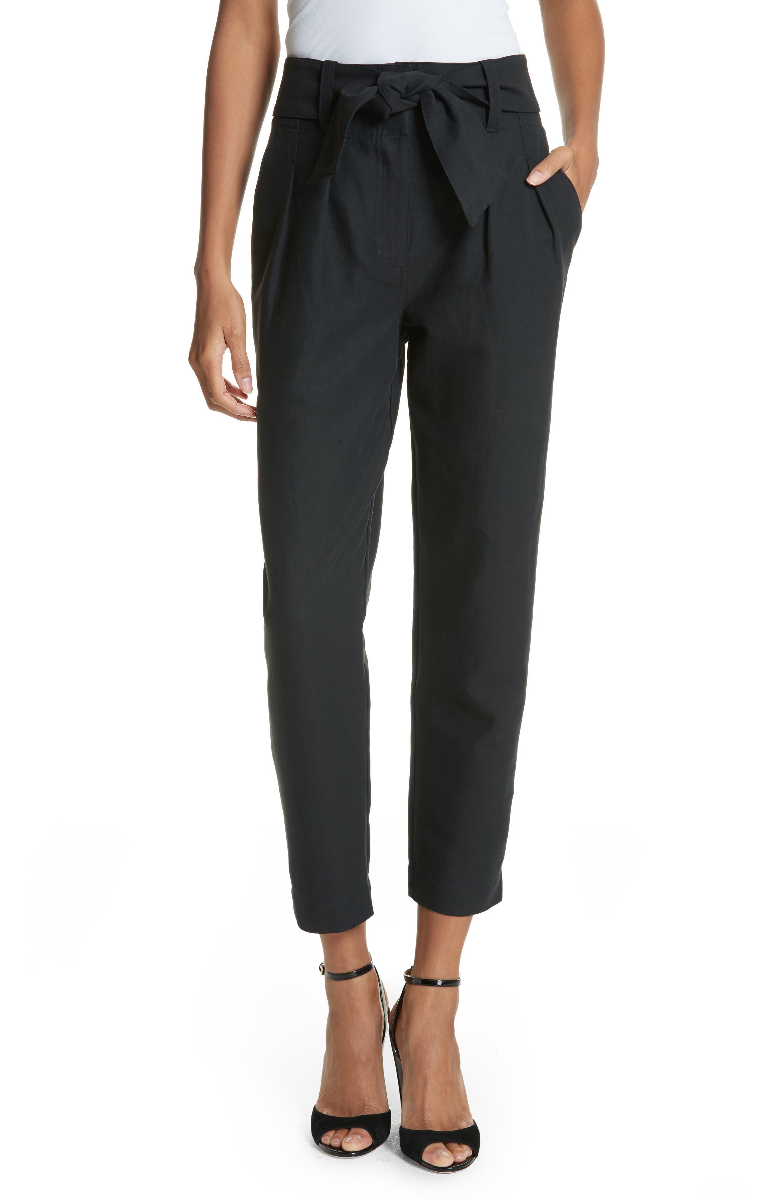 Jun Cotton & Linen Ankle Pants,                         Main,                         color, Caviar