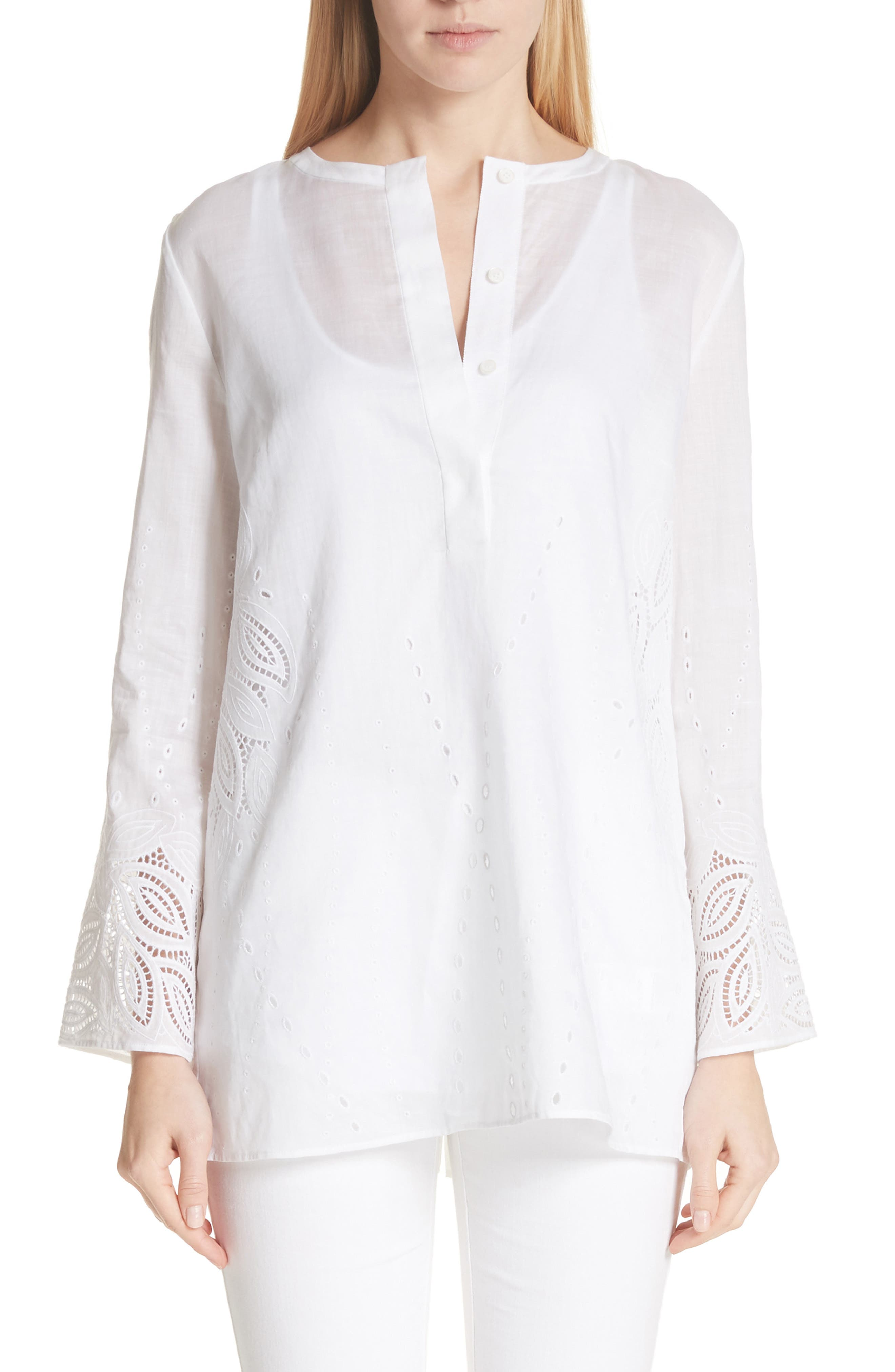 Main Image - Lafayette 148 New York Haisley Embroidered Gemma Cloth Blouse