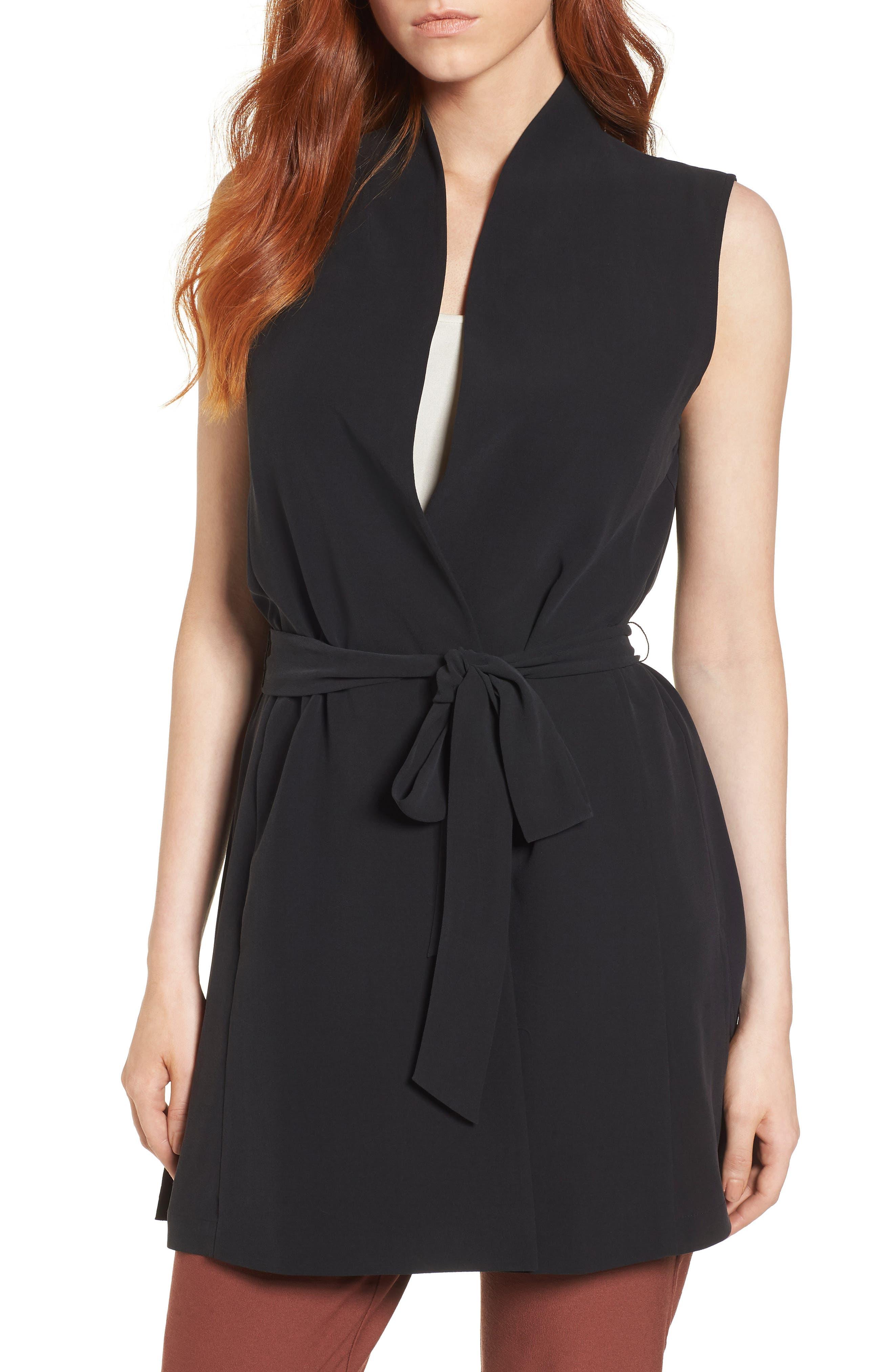 Silk Georgette Crepe Long Vest,                         Main,                         color, Black