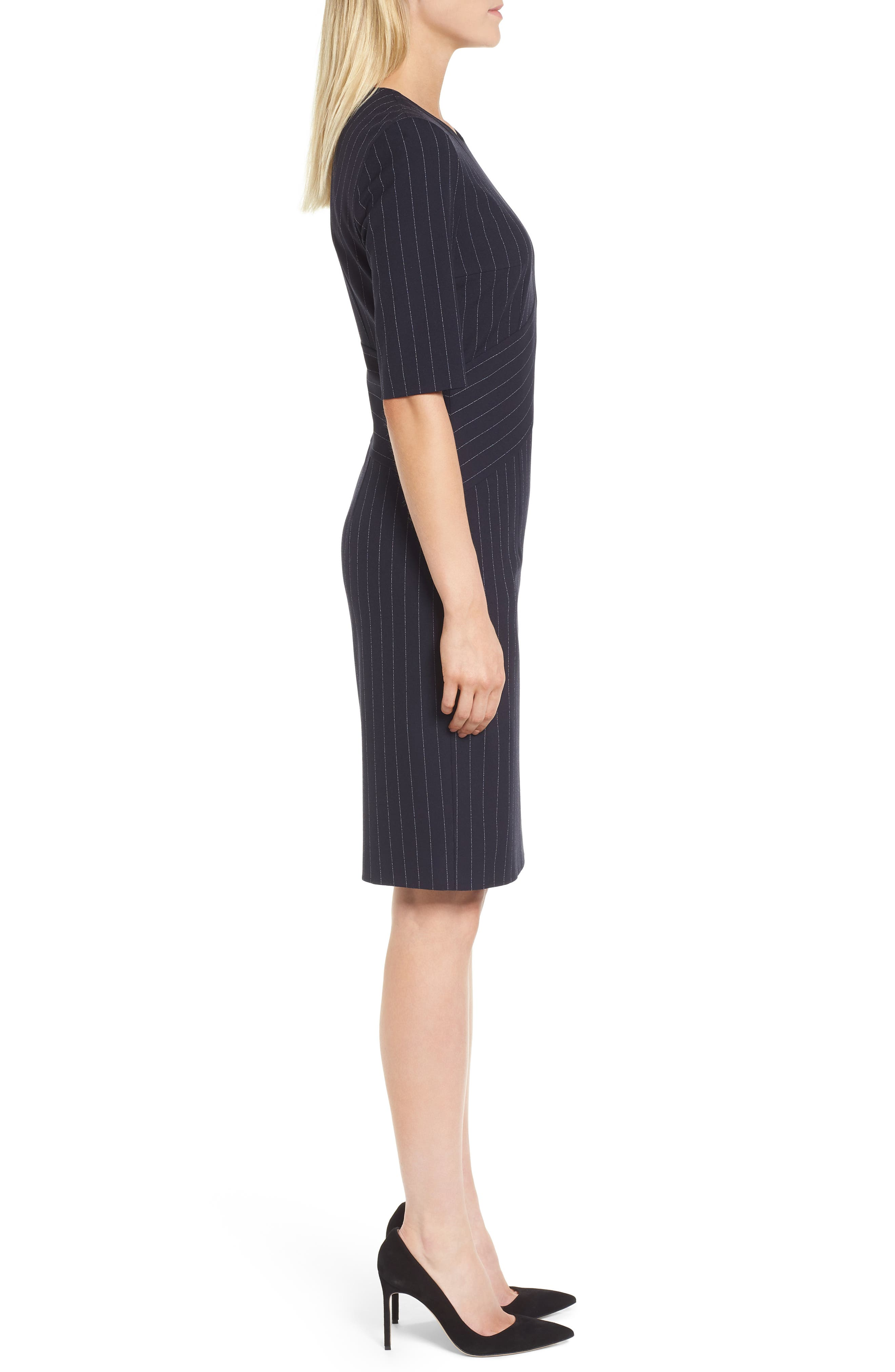 Dalayara Pinstripe Sheath Dress,                             Alternate thumbnail 3, color,                             Navy Fantasy