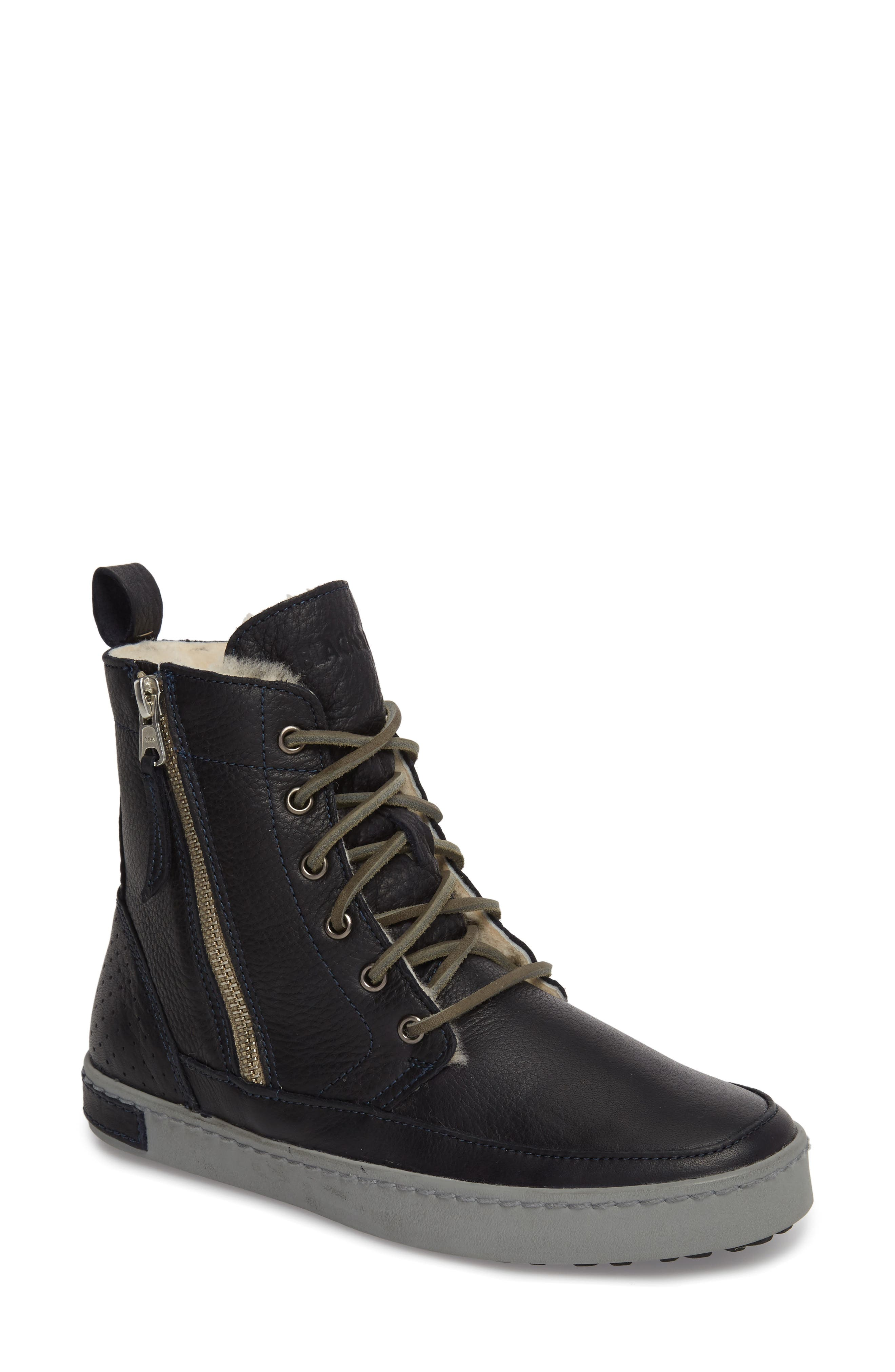 'CW96' Genuine Shearling Lined Sneaker Boot,                             Main thumbnail 1, color,                             Dark Indigo Leather