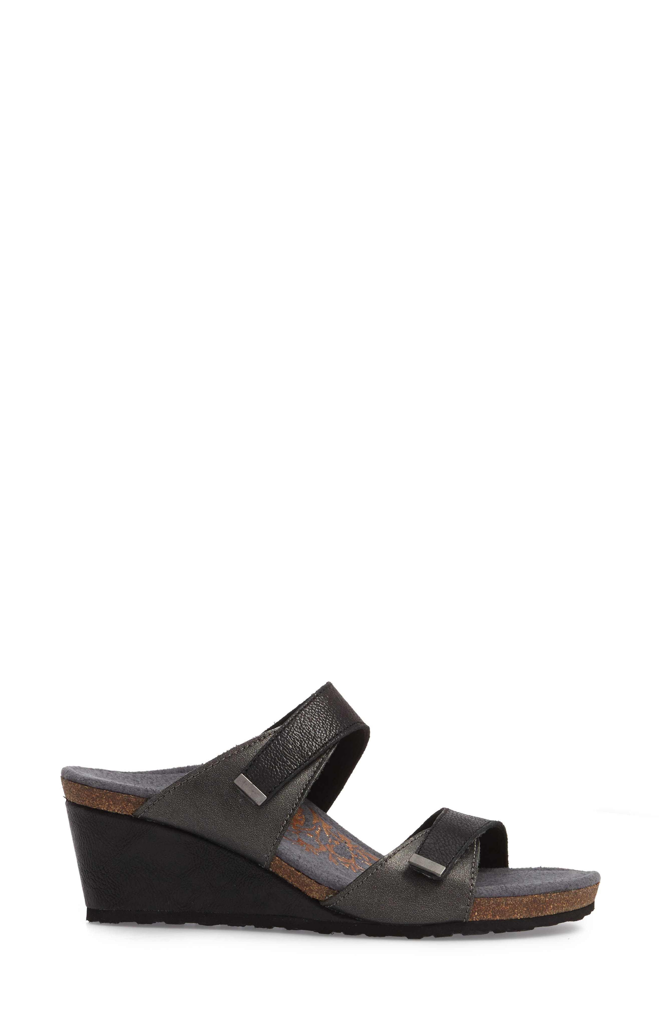 Chantel Wedge Sandal,                             Alternate thumbnail 3, color,                             Black Leather